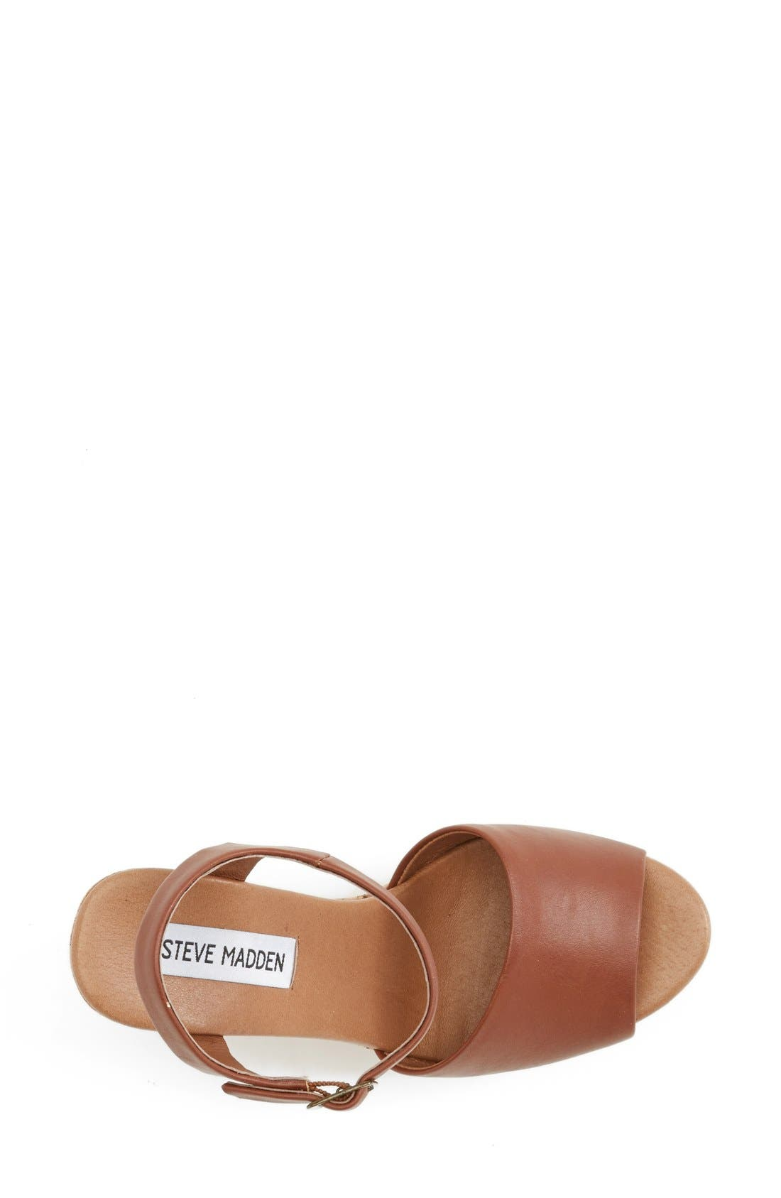 'Korkey' Ankle Strap Wedge Platform Sandal,                             Alternate thumbnail 3, color,                             Cognac