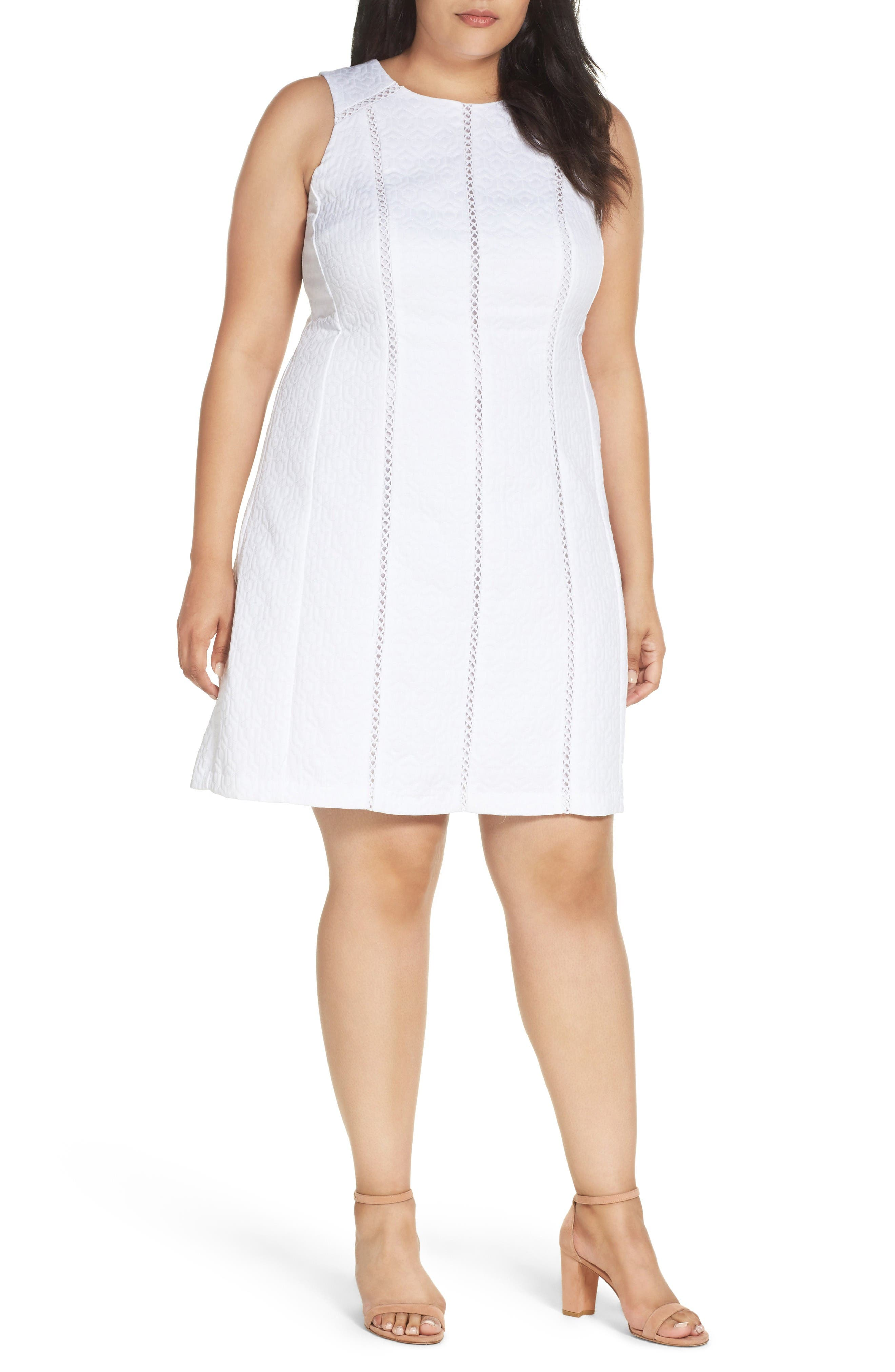 London Times Geo Jacquard Fit & Flare Dress (Plus Size)