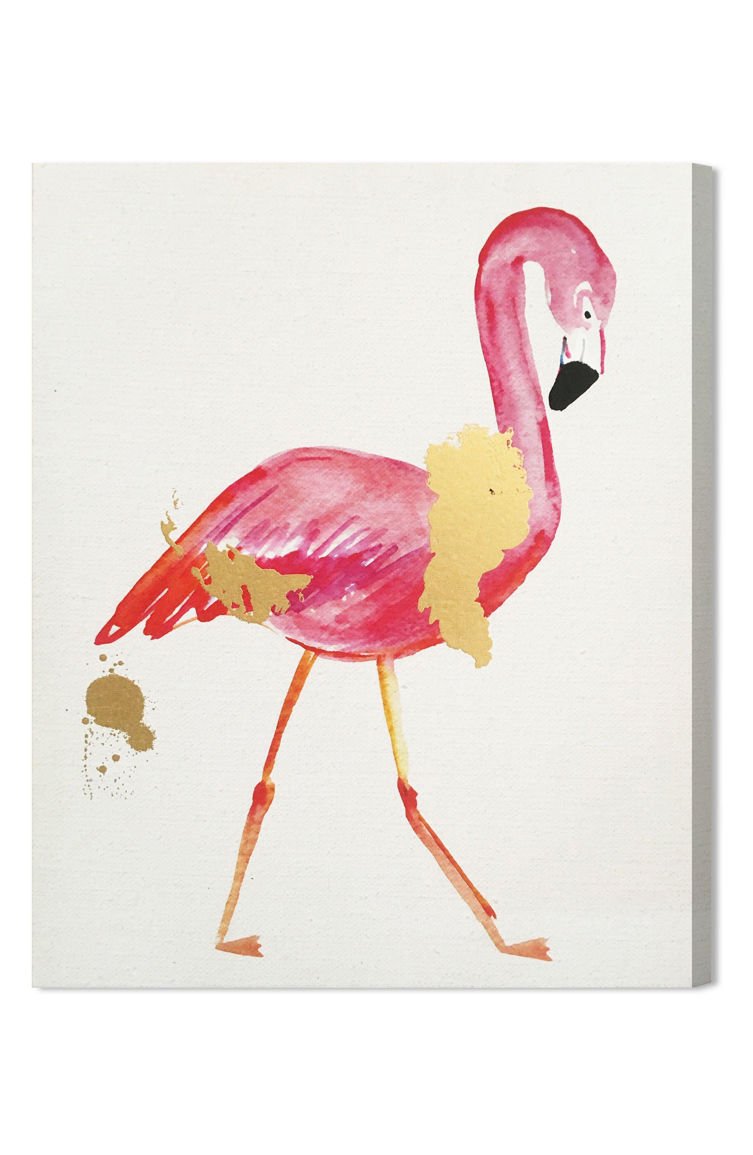 Wynwood Glam Flamingo Canvas Wall Art,                             Main thumbnail 1, color,                             Beige