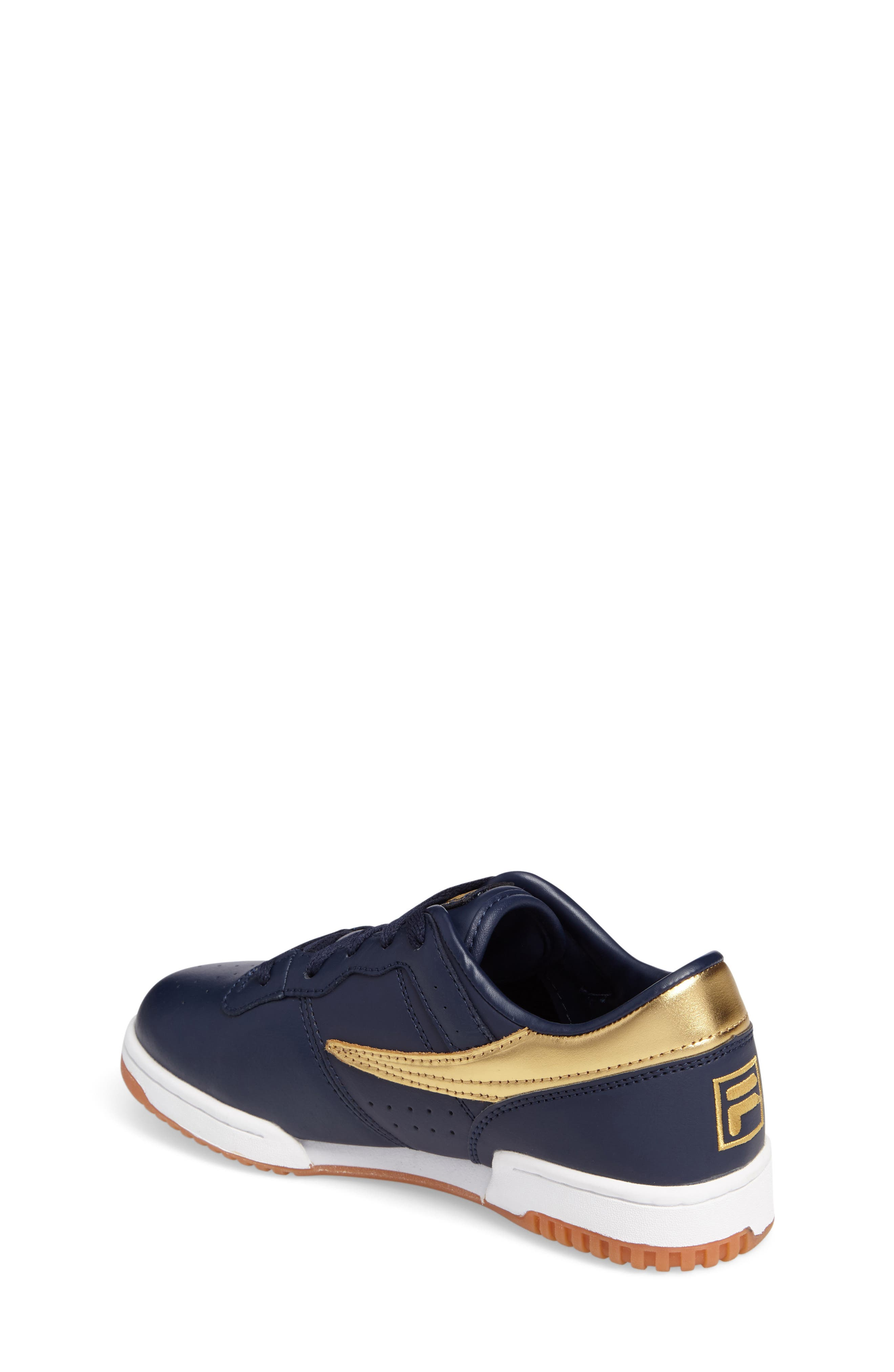 Heritage Sneaker,                             Alternate thumbnail 2, color,                             Navy/ Gold Faux Leather