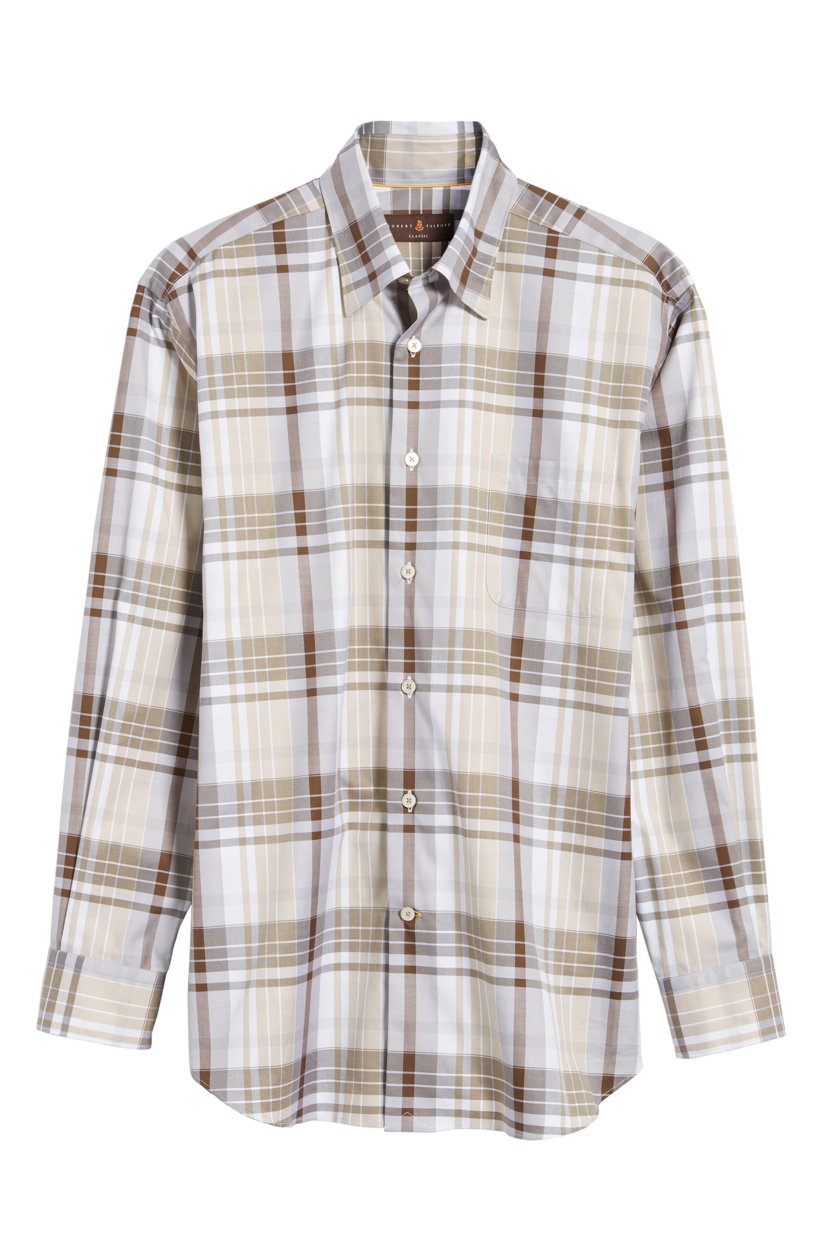 Anderson Classic Fit Plaid Micro Twill Sport Shirt,                             Alternate thumbnail 6, color,                             Desert