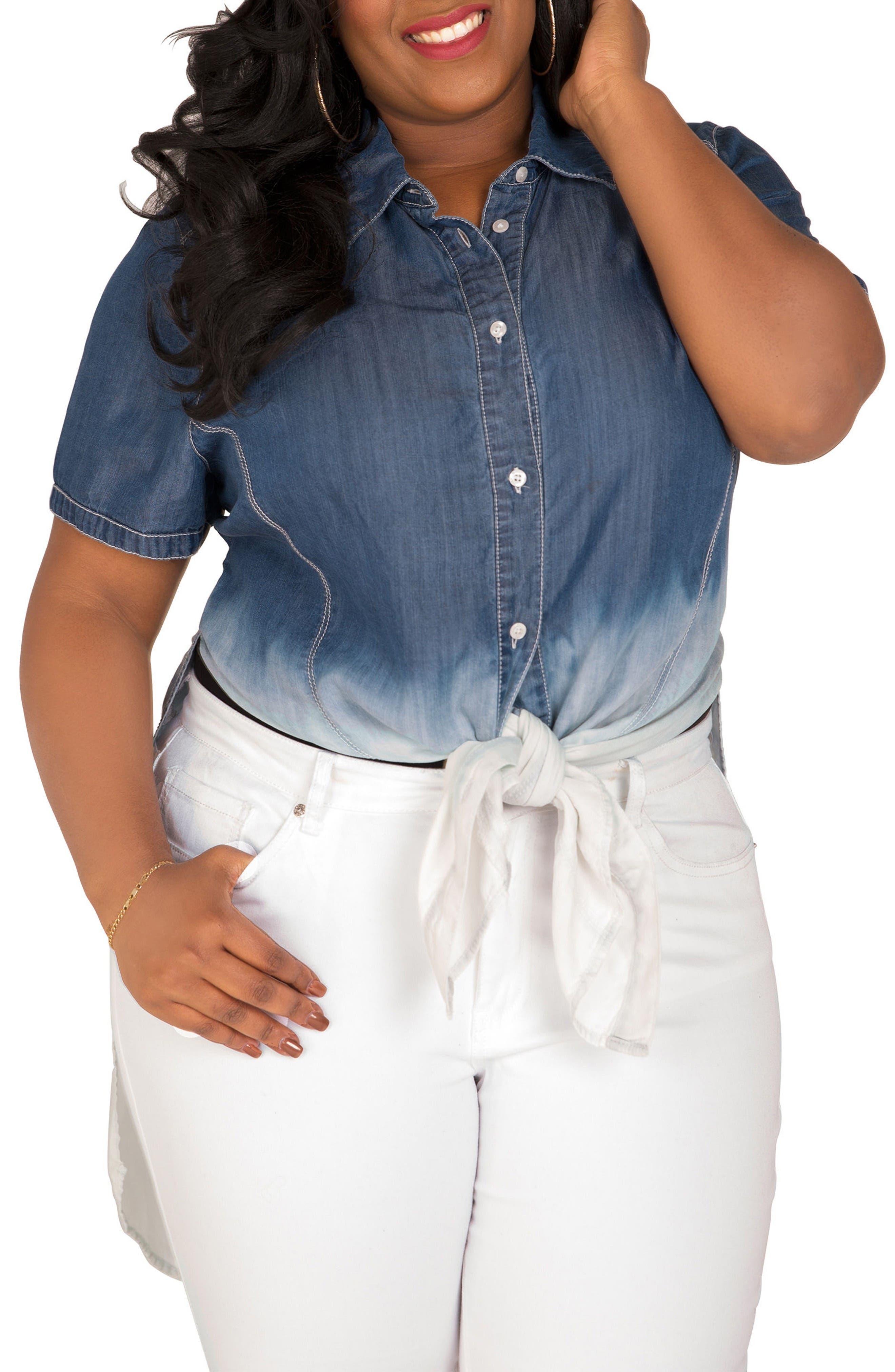 Main Image - Poetic Justice Regina Ombré Denim Tunic Shirt (Plus Size)
