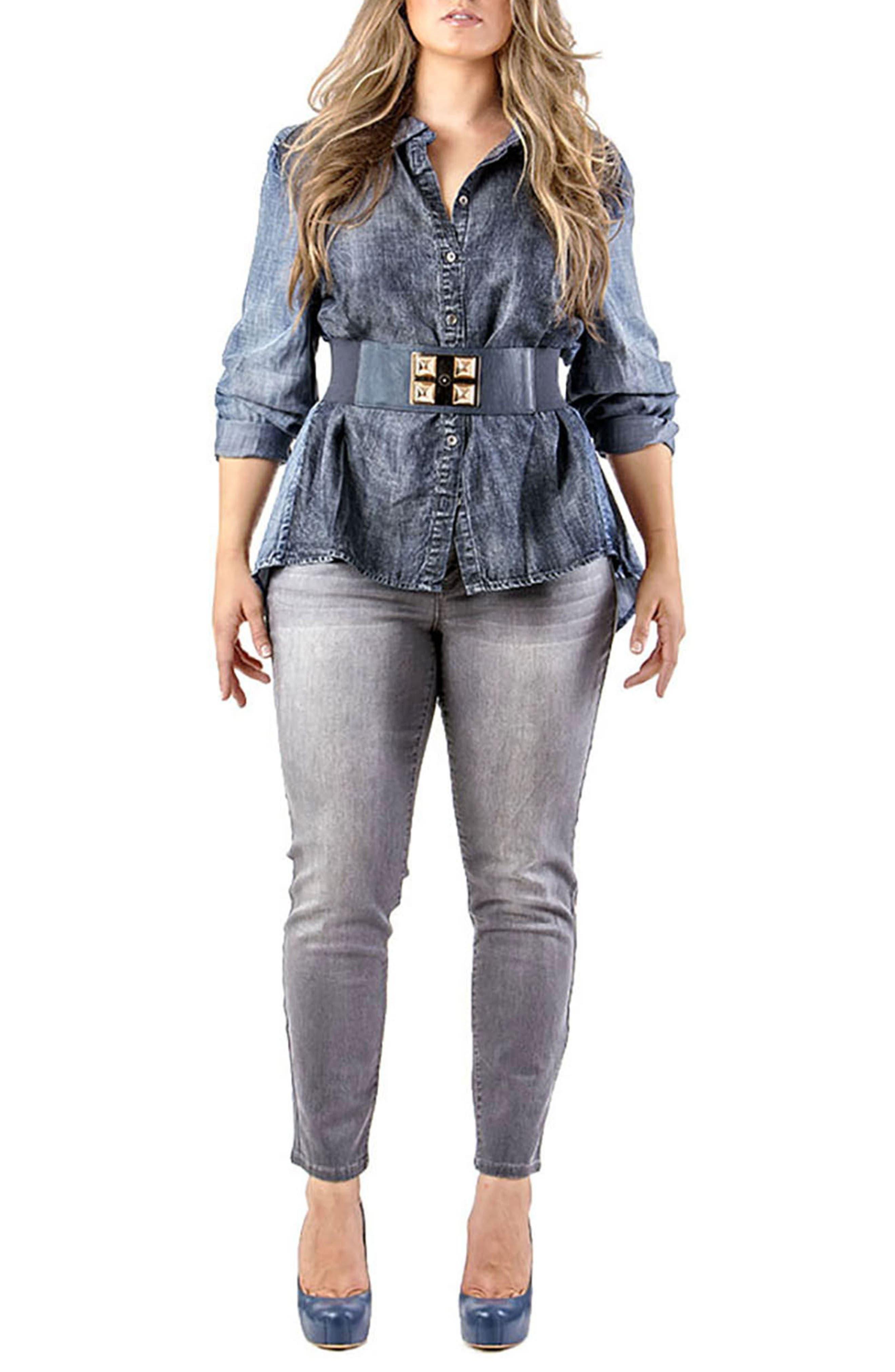 Alternate Image 2  - Standards & Practices Minnie Stretch Denim Skinny Jeans (Plus Size)