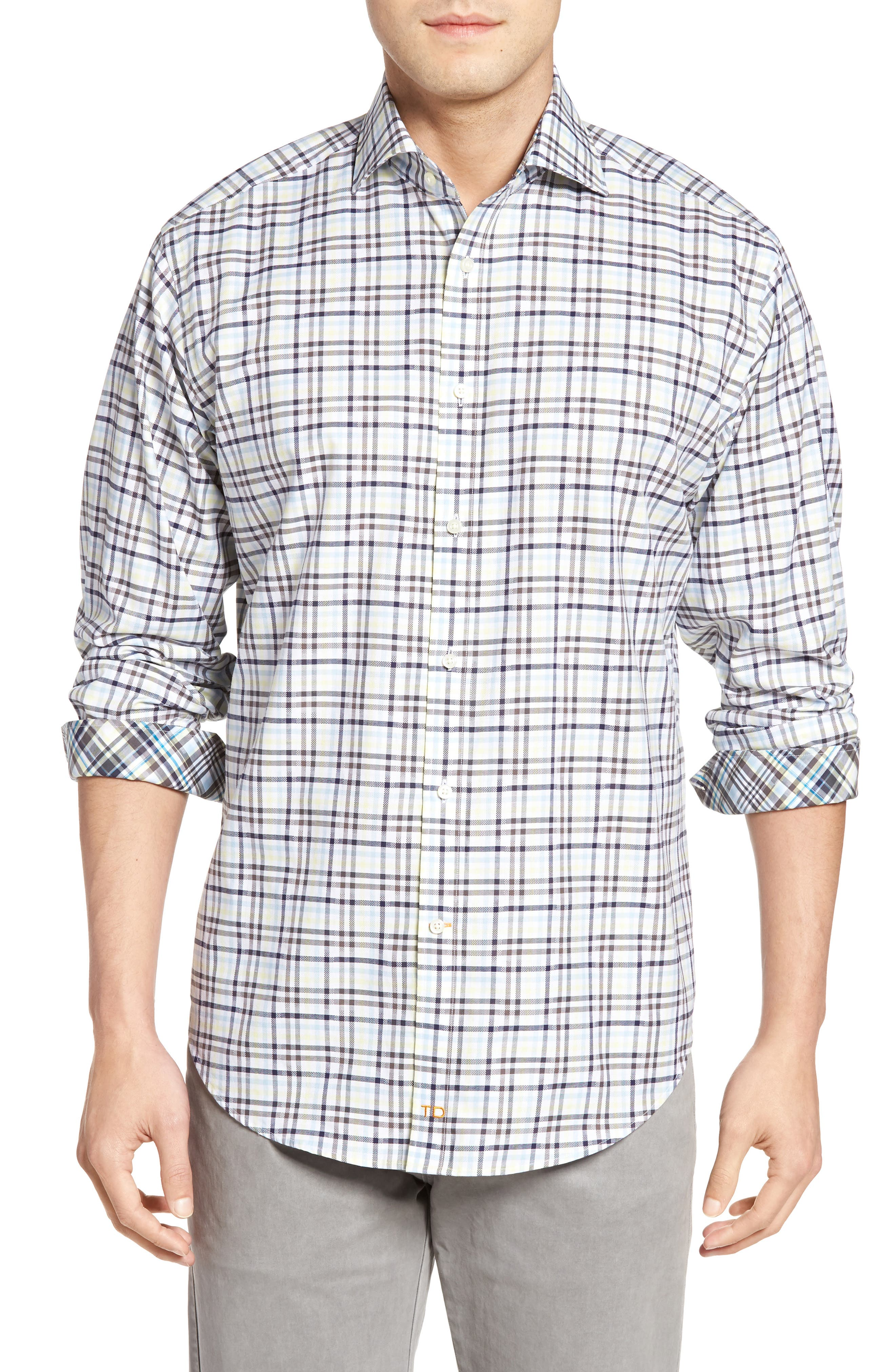 Thomas Dean Classic Fit Dobby Plaid Sport Shirt