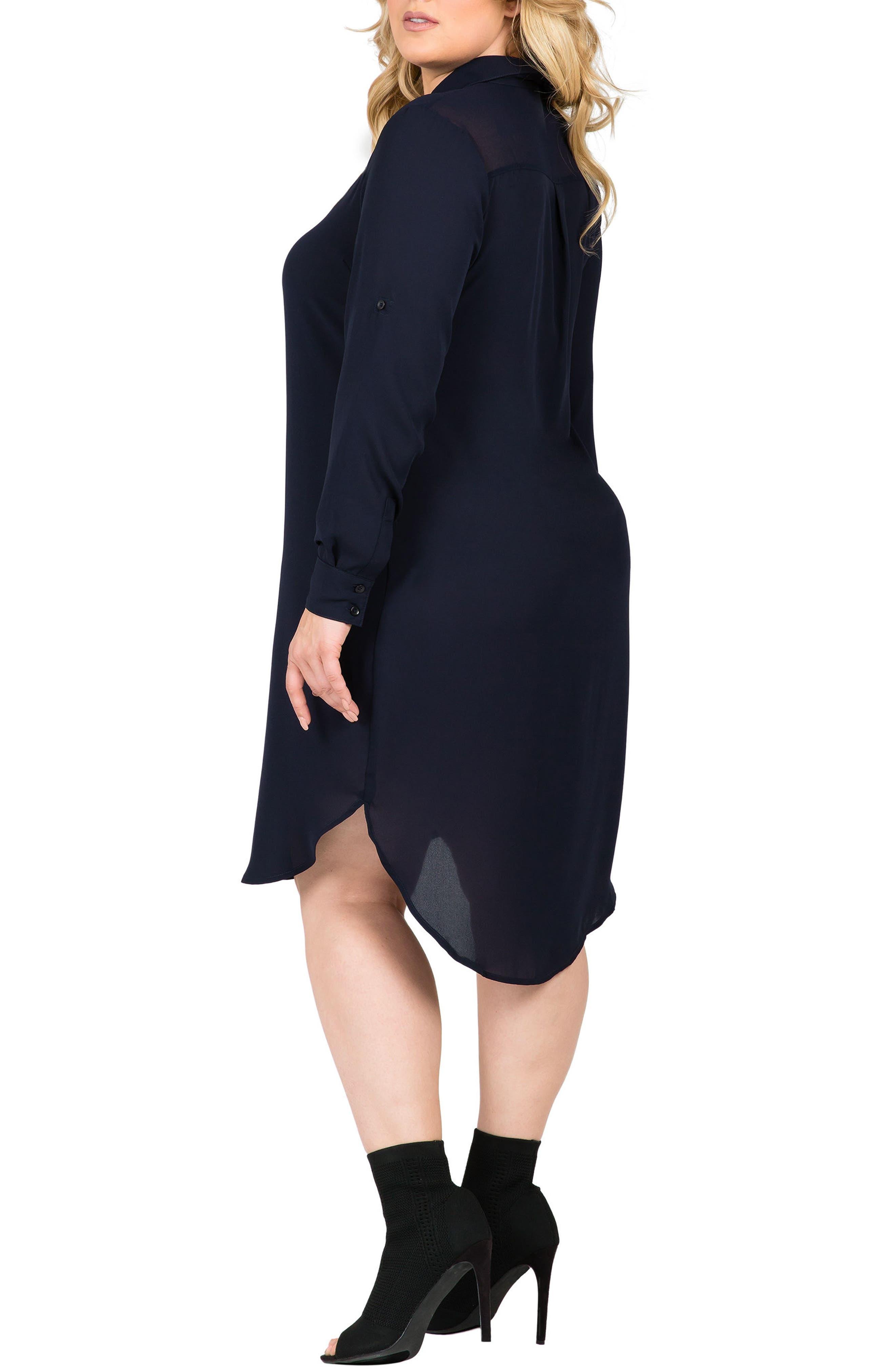 Alternate Image 2  - Standards & Practices Solenn Roll Sleeve Georgette Shirtdress (Plus Size)