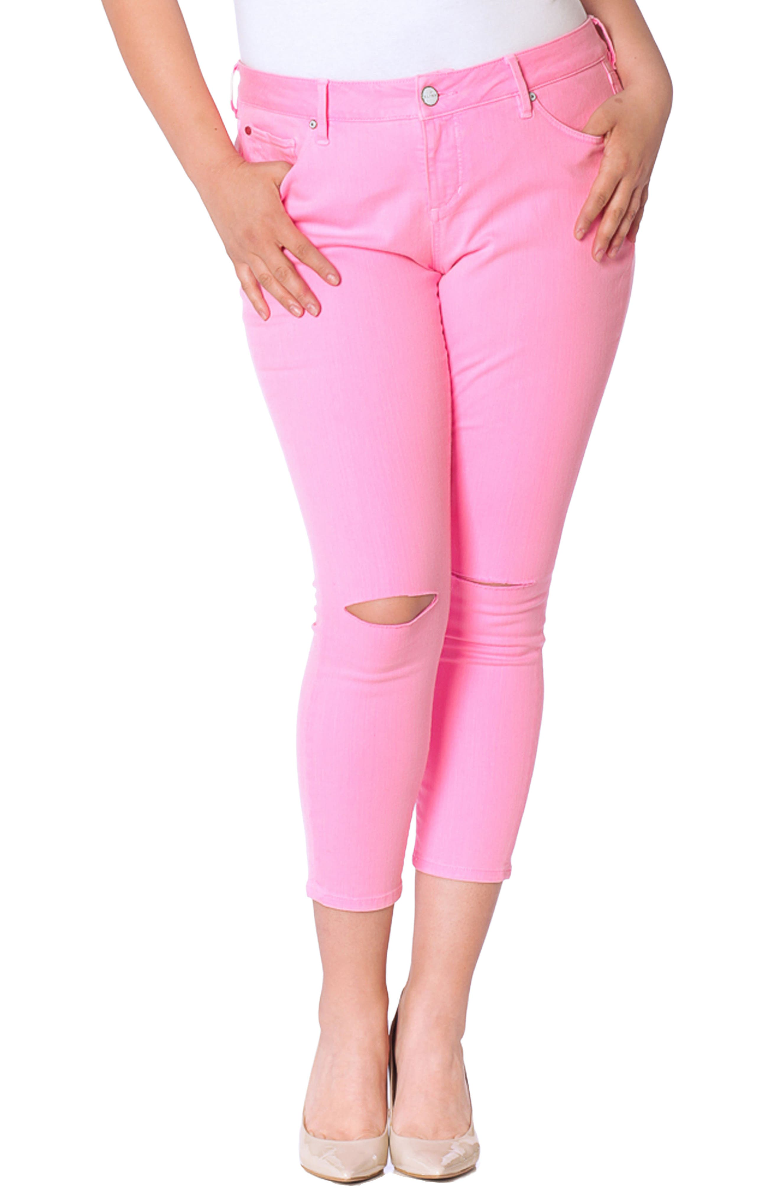 SLINK Jeans Slit Knee Ankle Skinny Jeans (Neon Pink) (Plus Size)