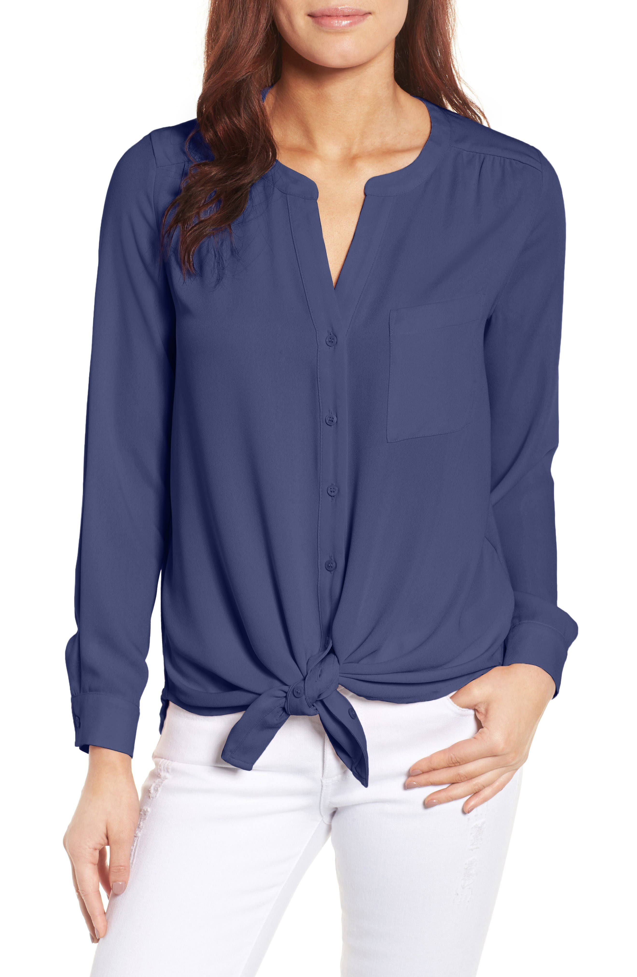 Main Image - Pleione Mixed Media Top (Regular & Petite)