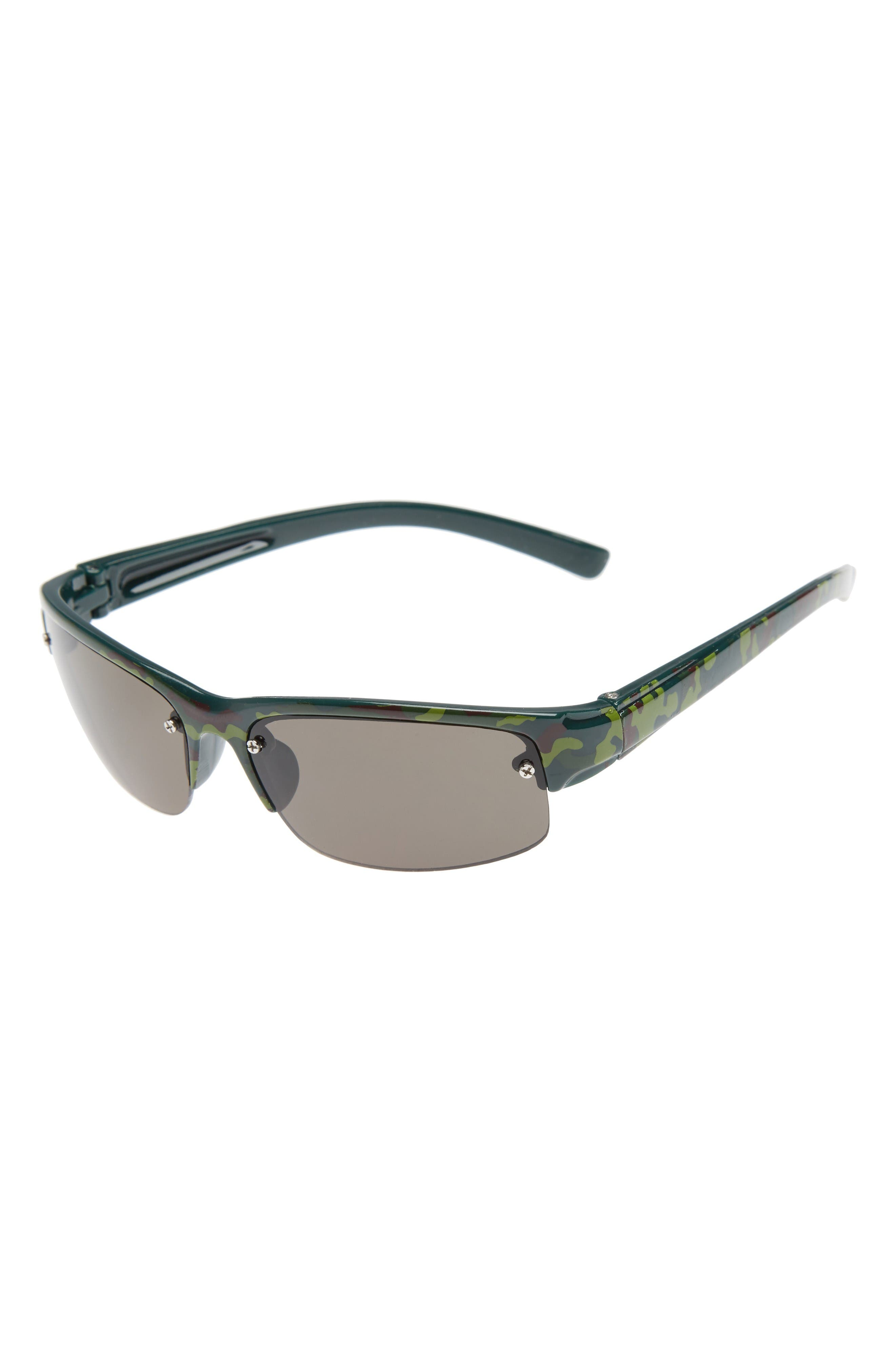 FANTAS EYES Camo Semi Rimless Wrap Sunglasses