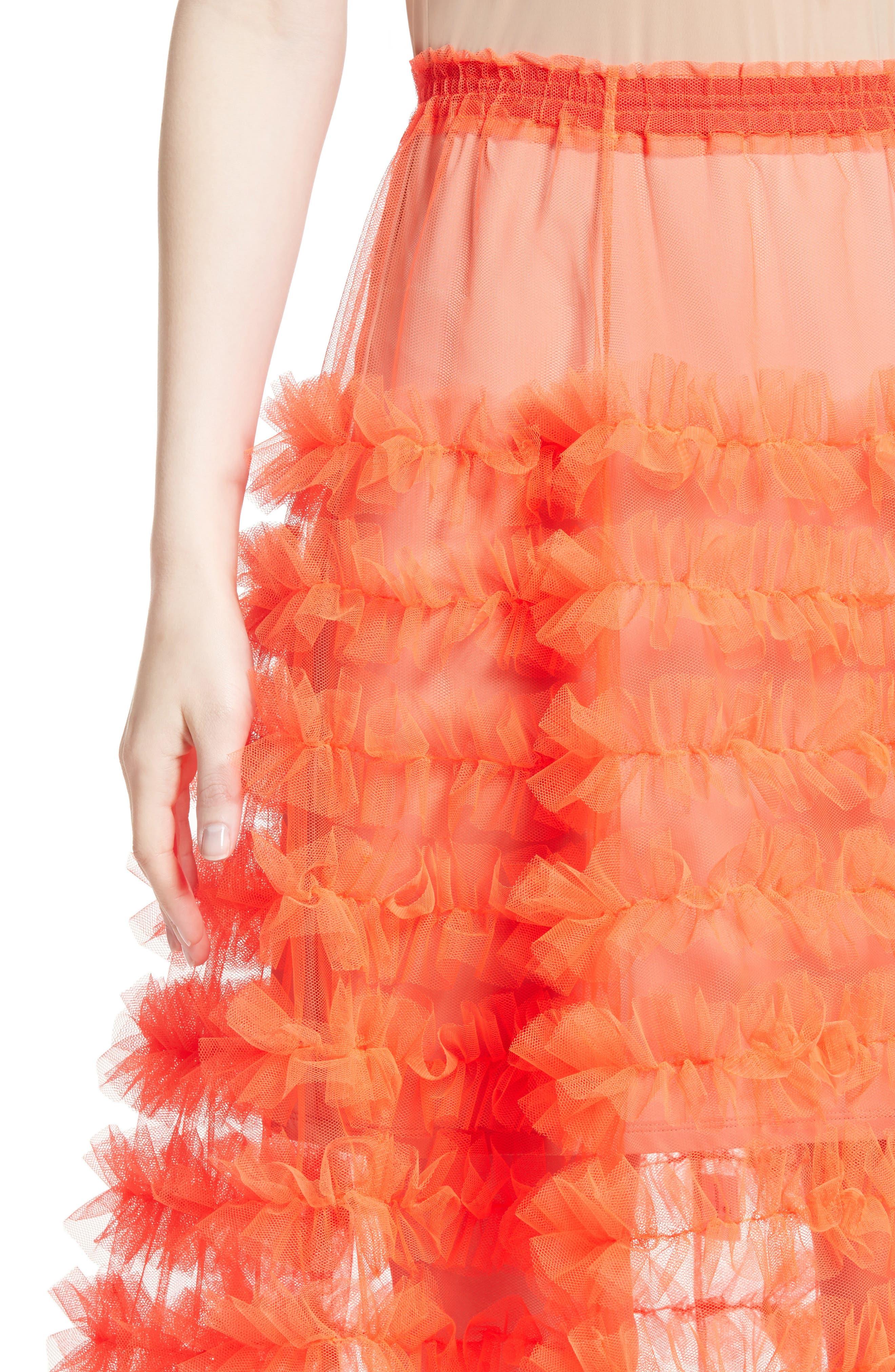 Melanie Tulle Skirt,                             Alternate thumbnail 6, color,                             Neon Tangerine