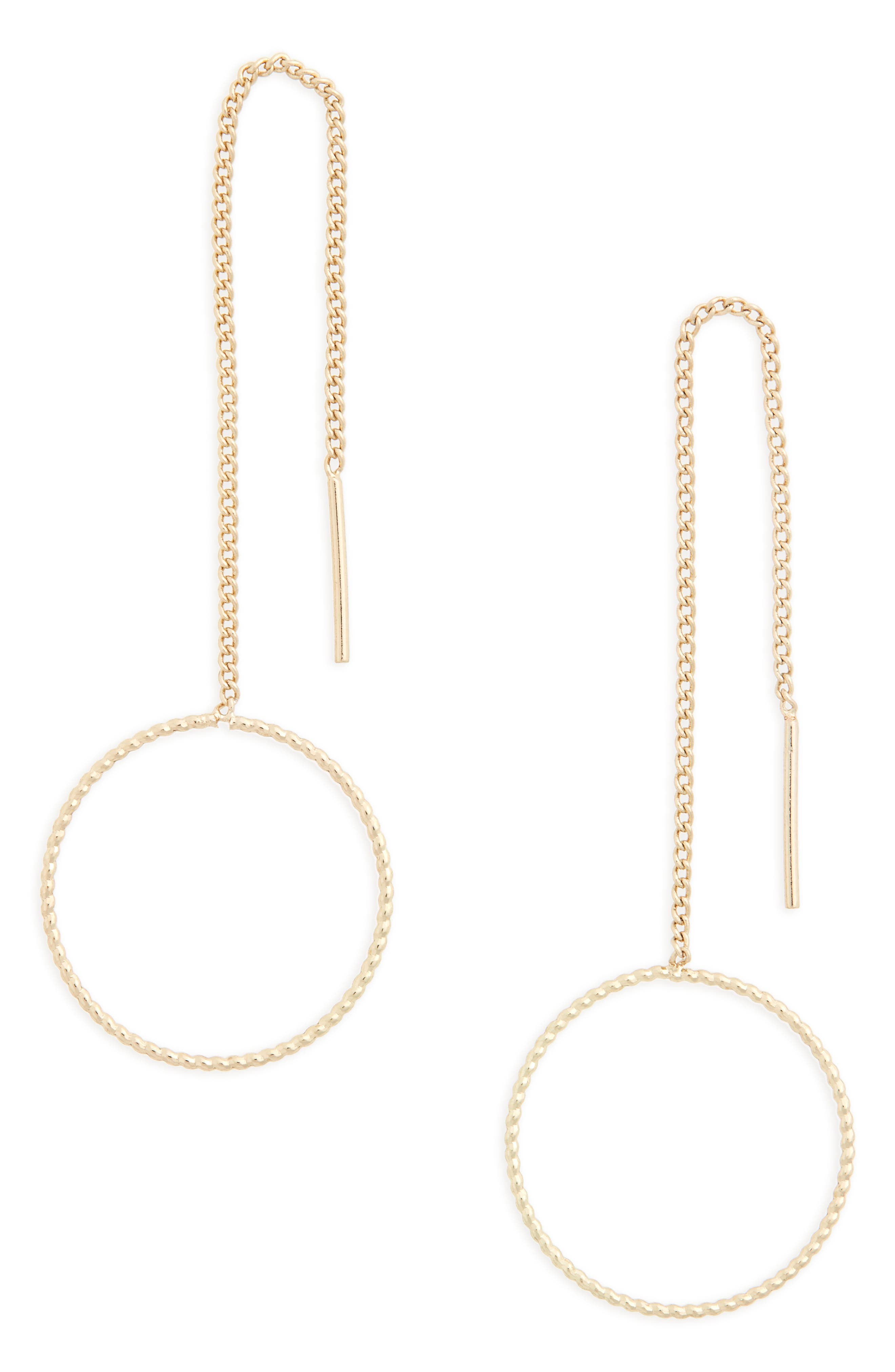 Alternate Image 1 Selected - Topshop Circle Drop Threader Earrings