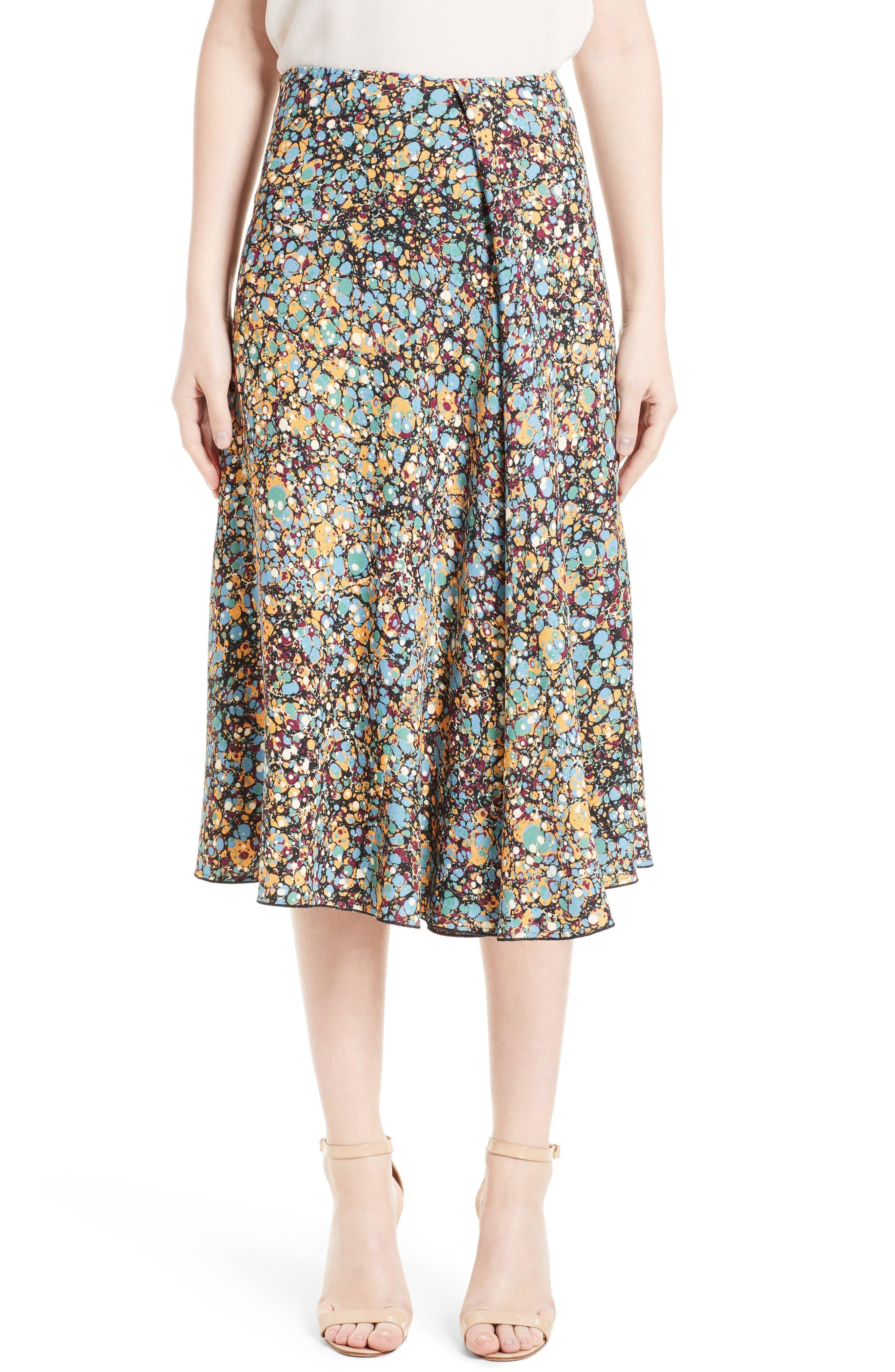 Victoria Beckham Marble Print Sable Godet Midi Skirt