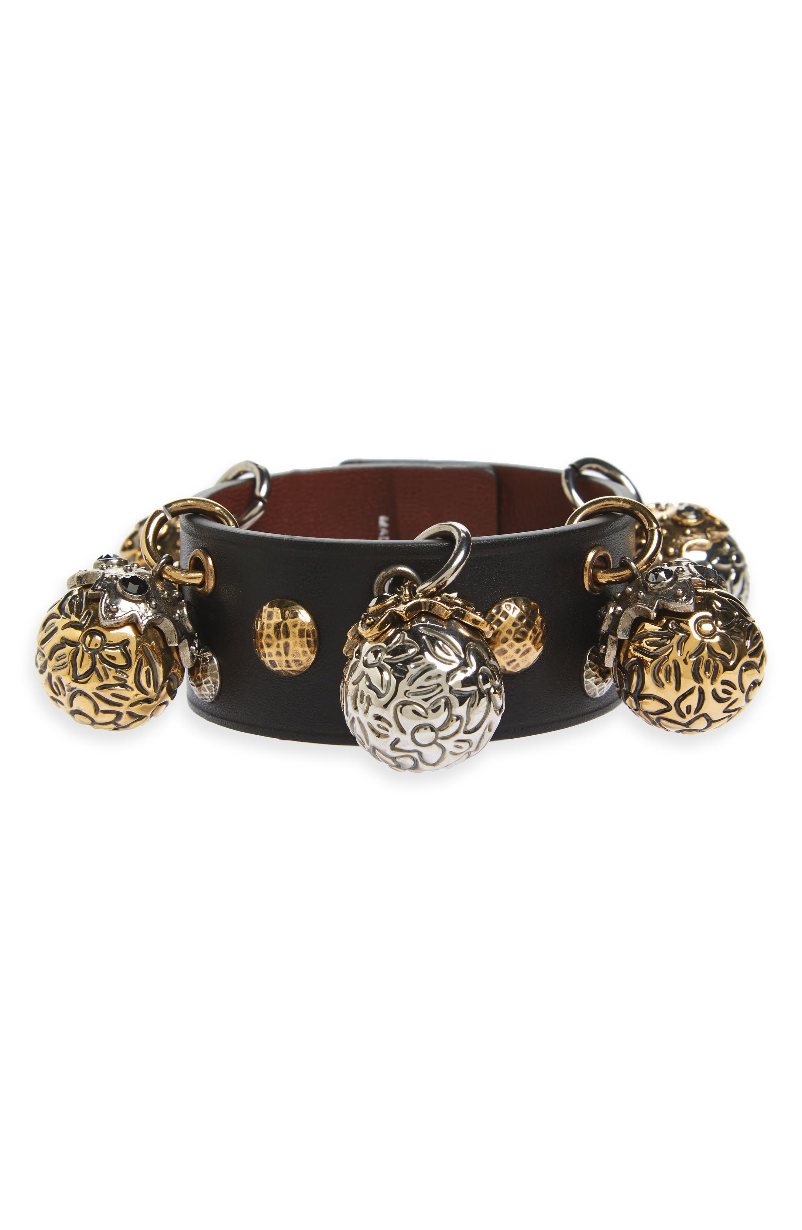 Metallic Sphere Leather Bracelet,                         Main,                         color, Black