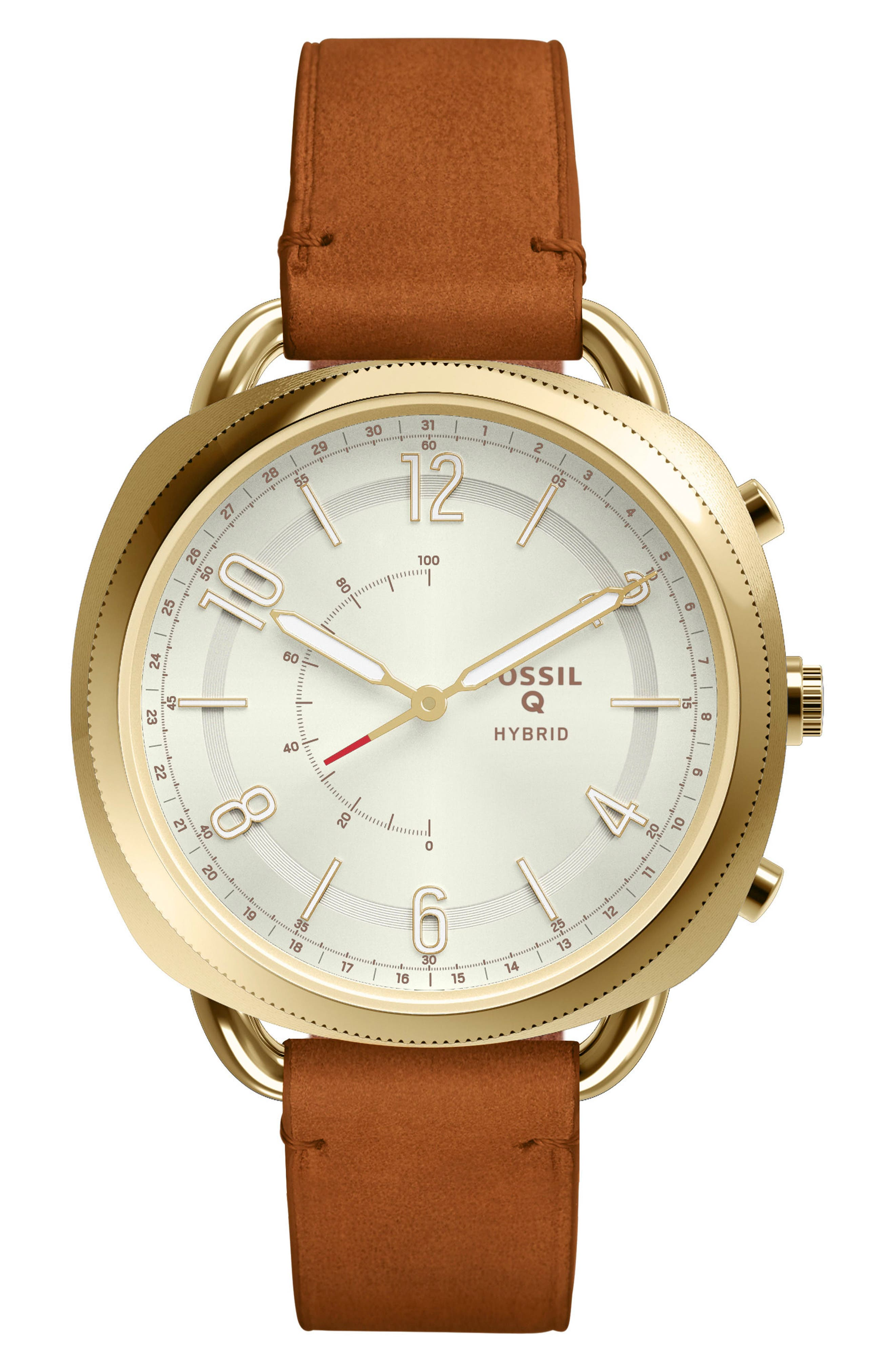 Accomplice Smart Leather Strap Watch, 38mm,                         Main,                         color, Tan/ White/ Gold