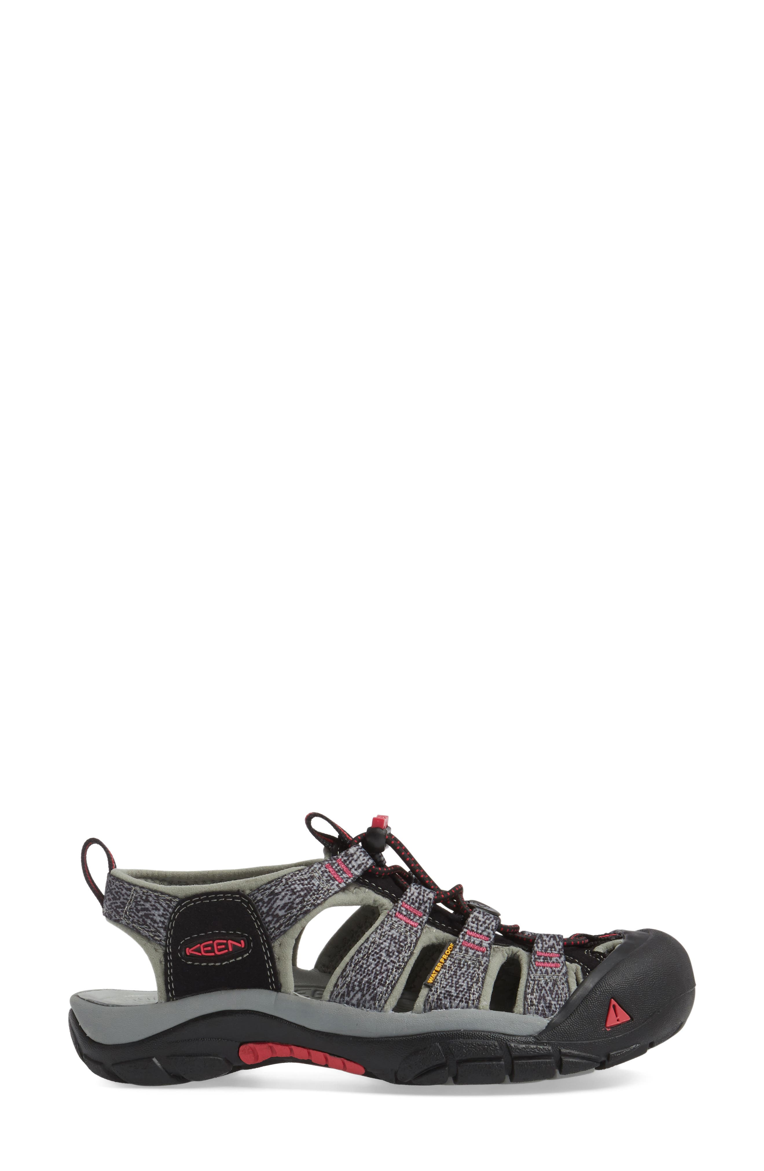 'Newport H2' Sandal,                             Alternate thumbnail 3, color,                             Black/ Bright Rose Fabric