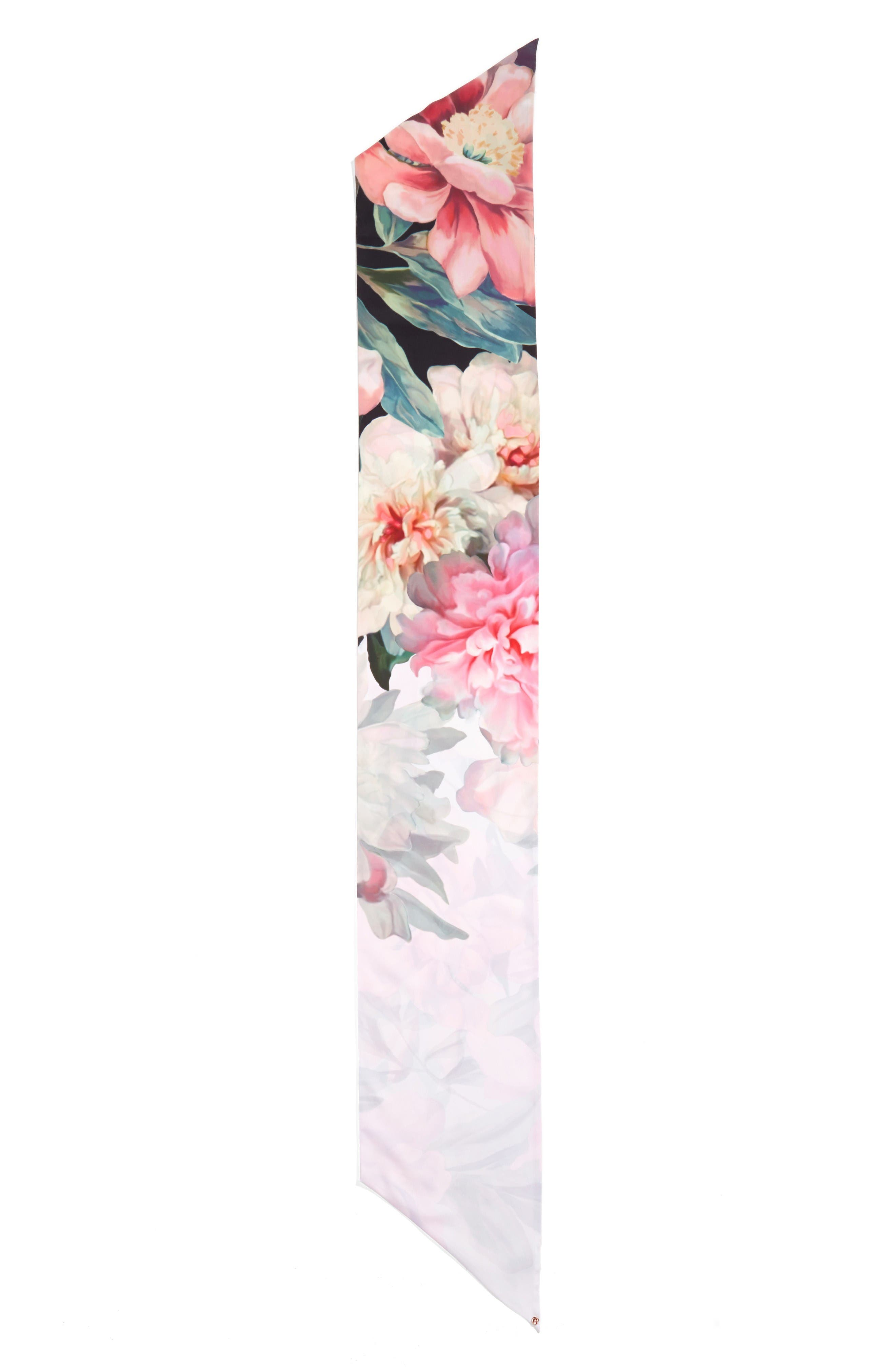 Painted Posie Silk Scarf,                             Alternate thumbnail 2, color,                             Baby Pink