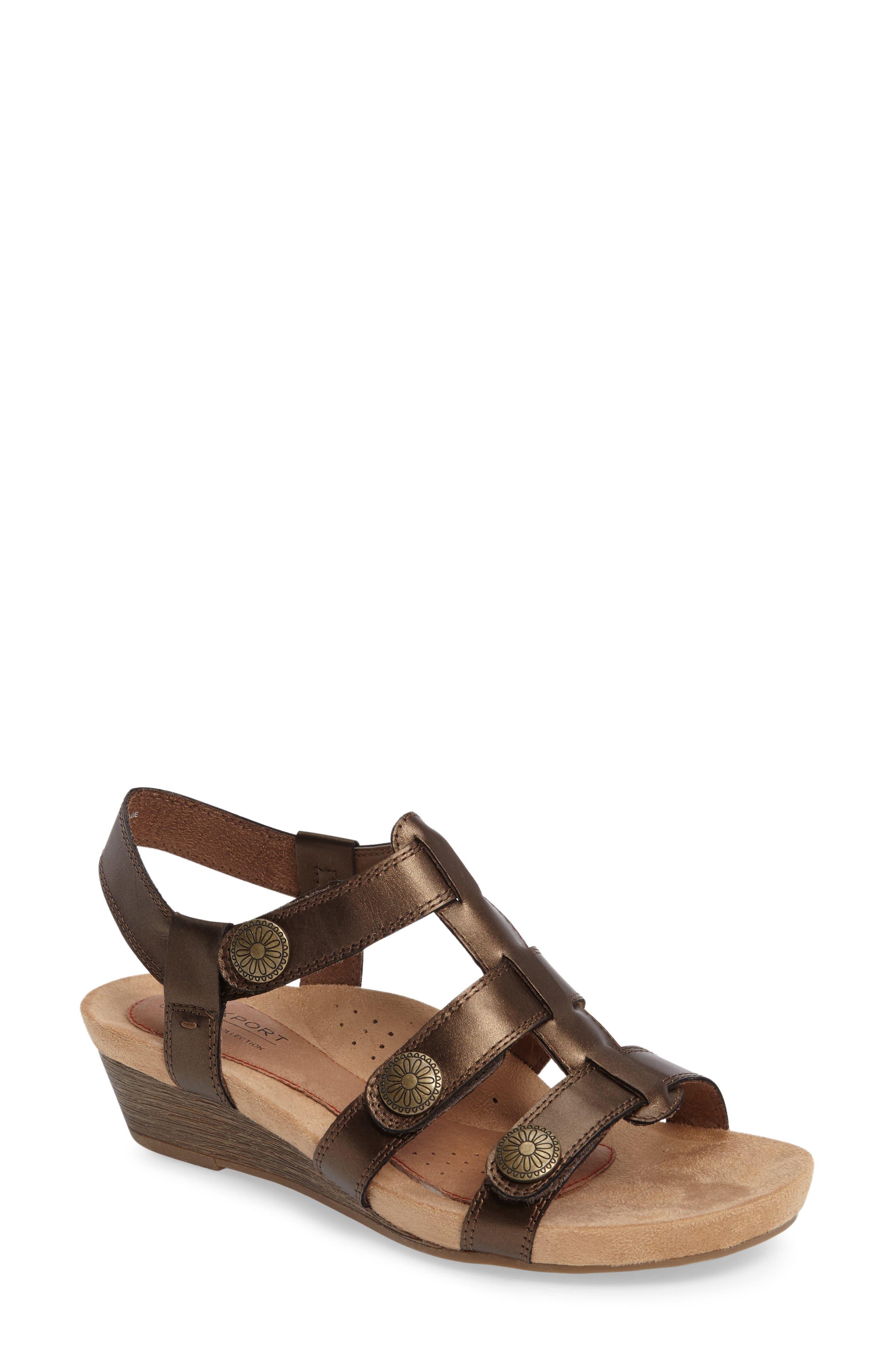 'Harper' Wedge Sandal,                             Main thumbnail 1, color,                             Bronze Leather