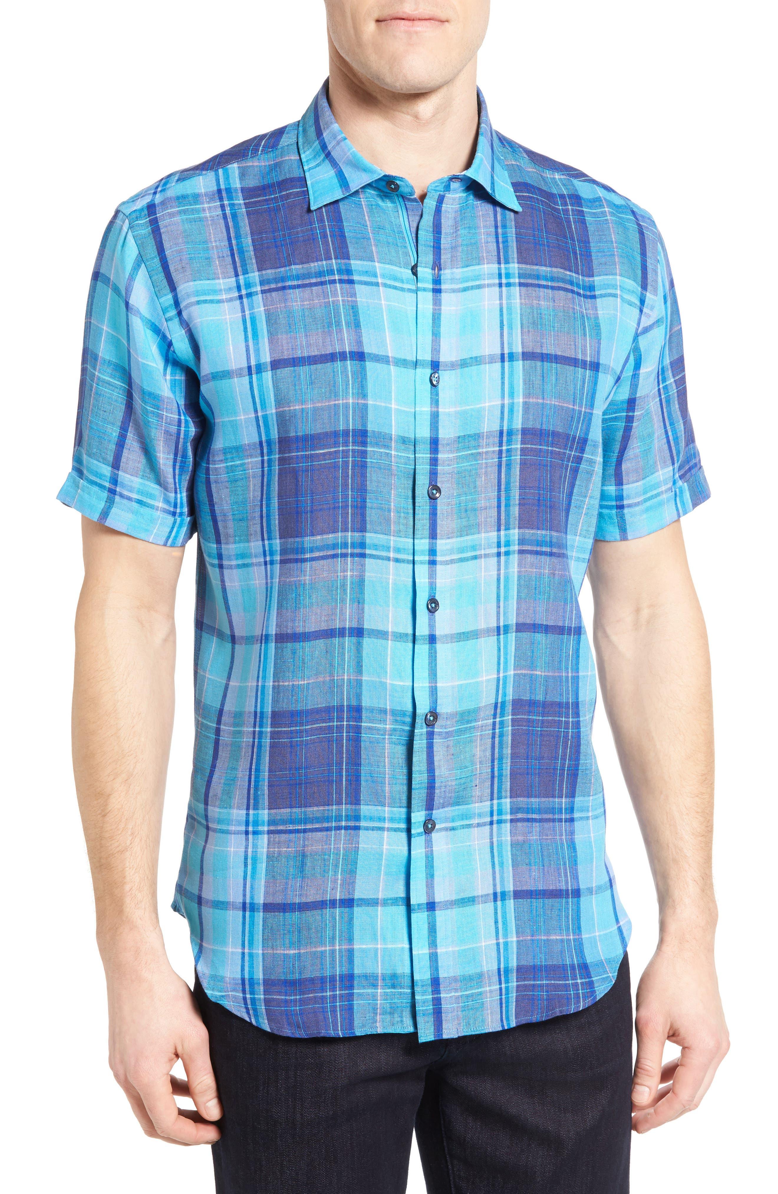 Shaped Fit Linen Sport Shirt,                         Main,                         color, Classic Blue