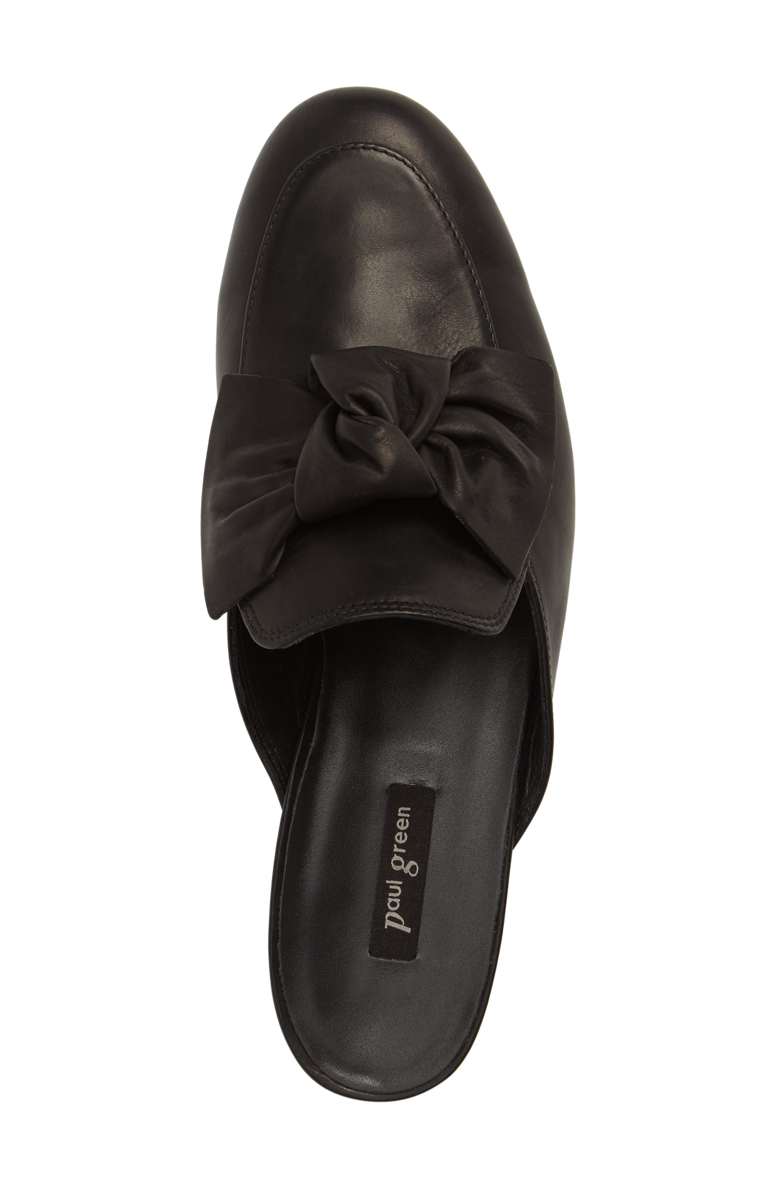 Mary Bow Mule Loafer,                             Alternate thumbnail 5, color,                             Black Leather
