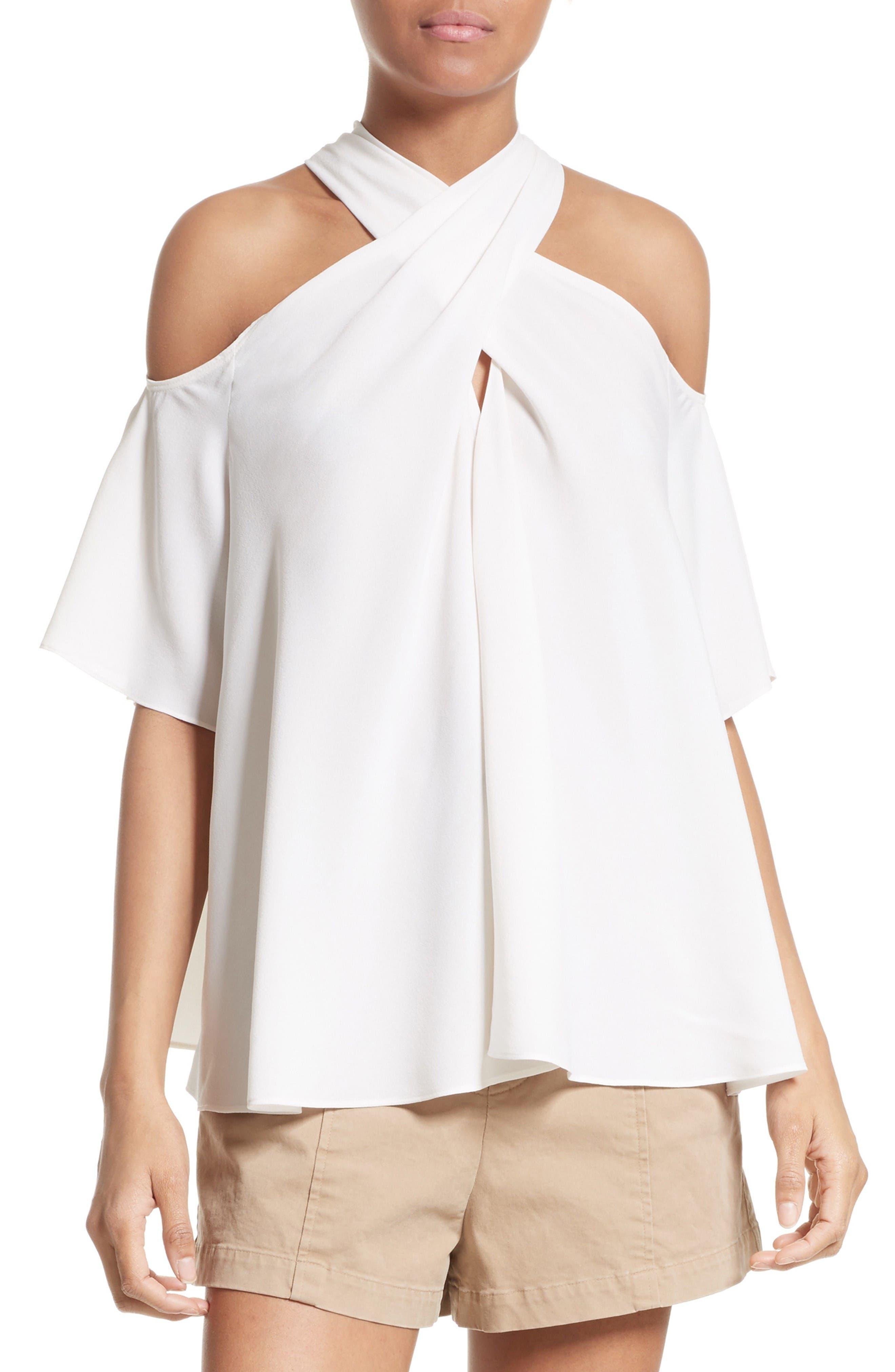 A.L.C. Kayley Silk Cold Shoulder Top