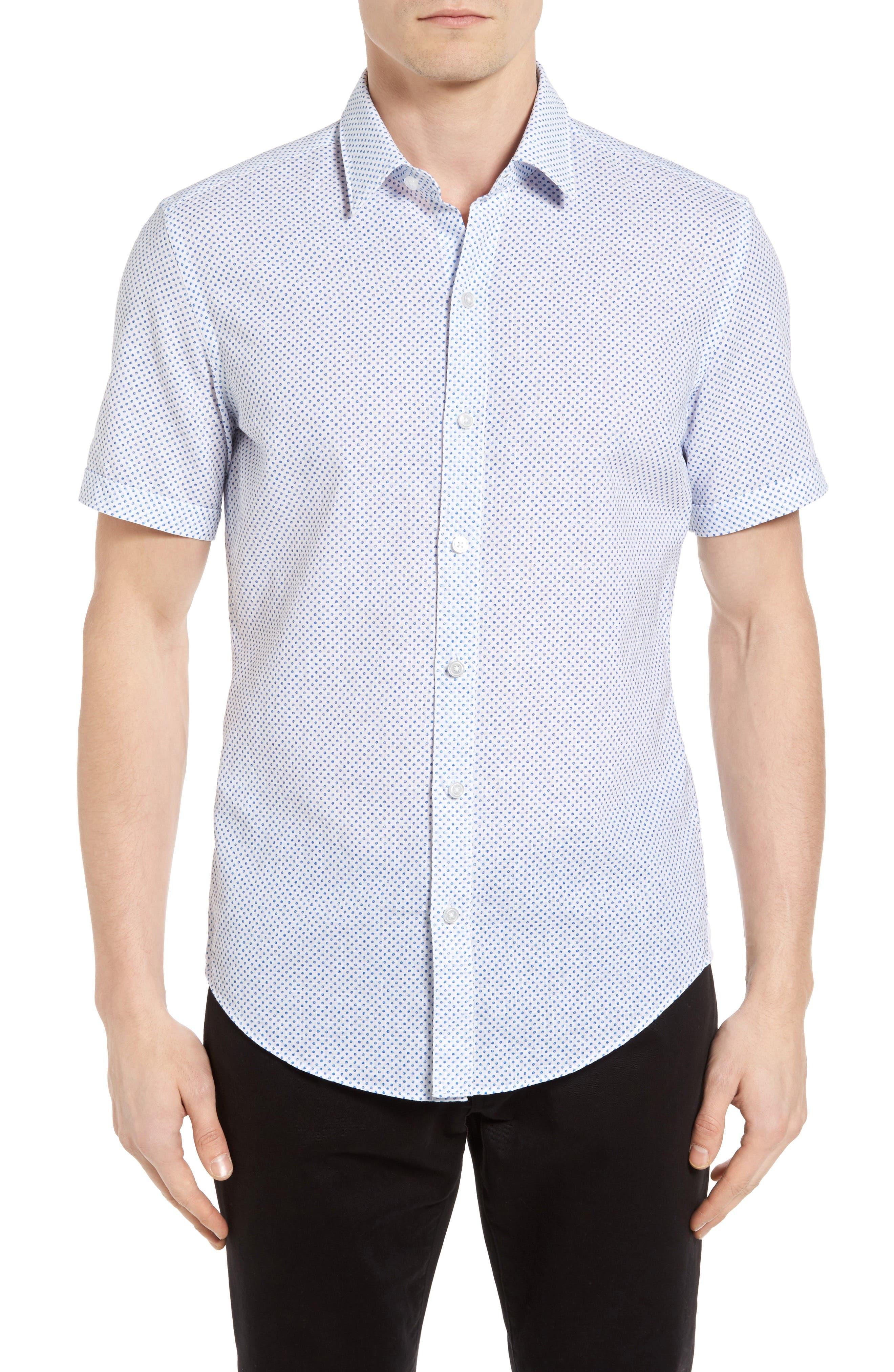Main Image - BOSS Robbie Slim Fit Dot Print Sport Shirt