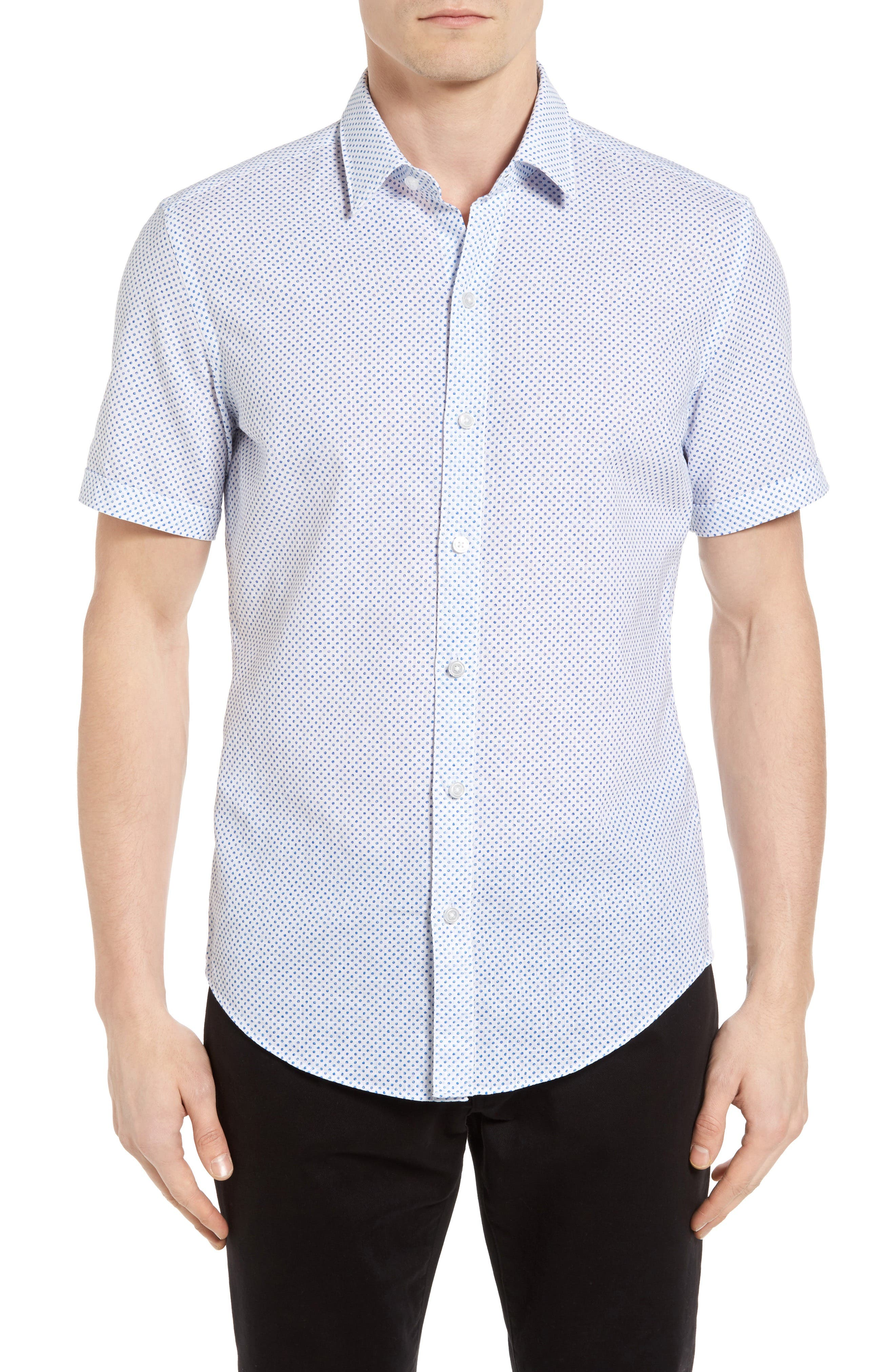 BOSS Robbie Slim Fit Dot Print Sport Shirt