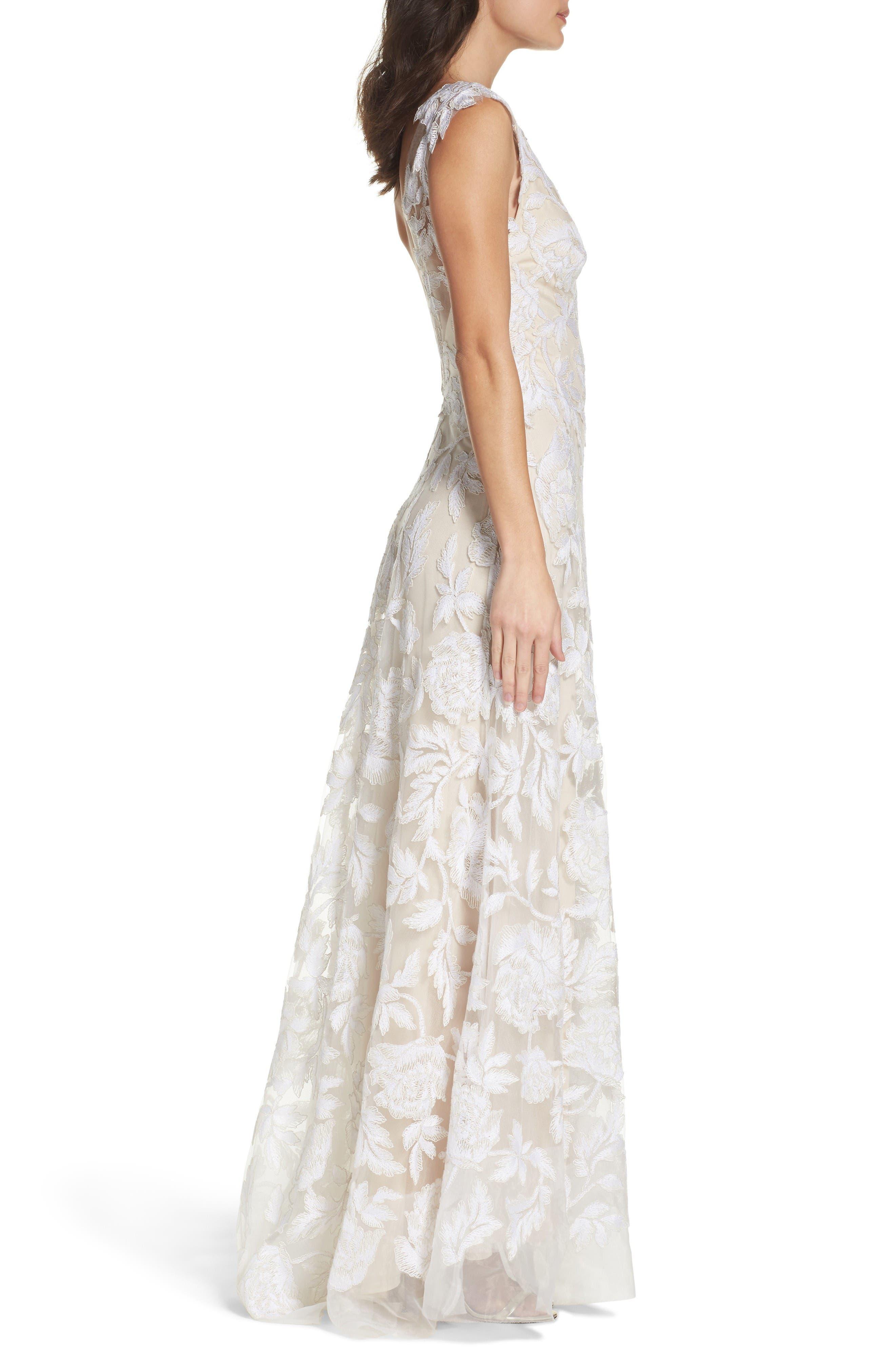 A-Line Lace Gown,                             Alternate thumbnail 3, color,                             Ivory/ Petal