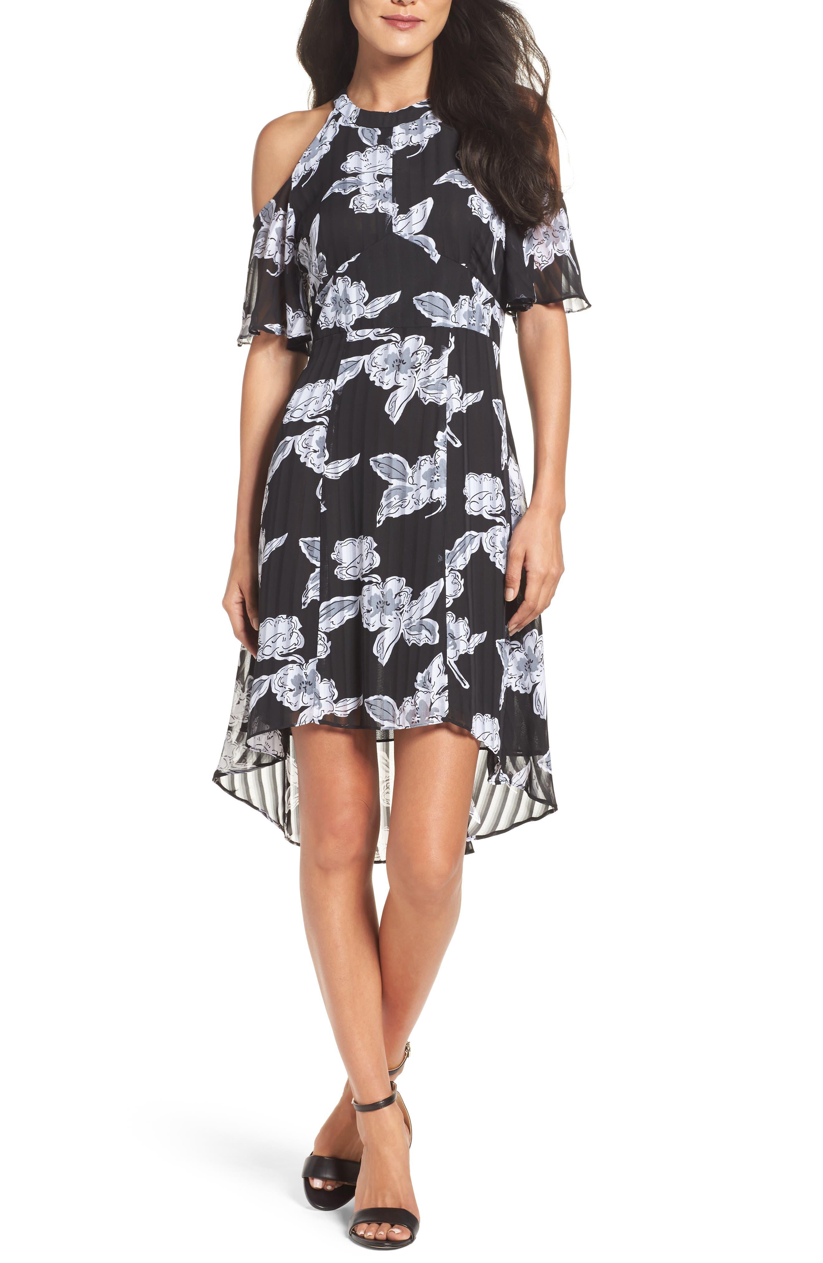 Print Cold Shoulder Dress,                         Main,                         color, Black/ White