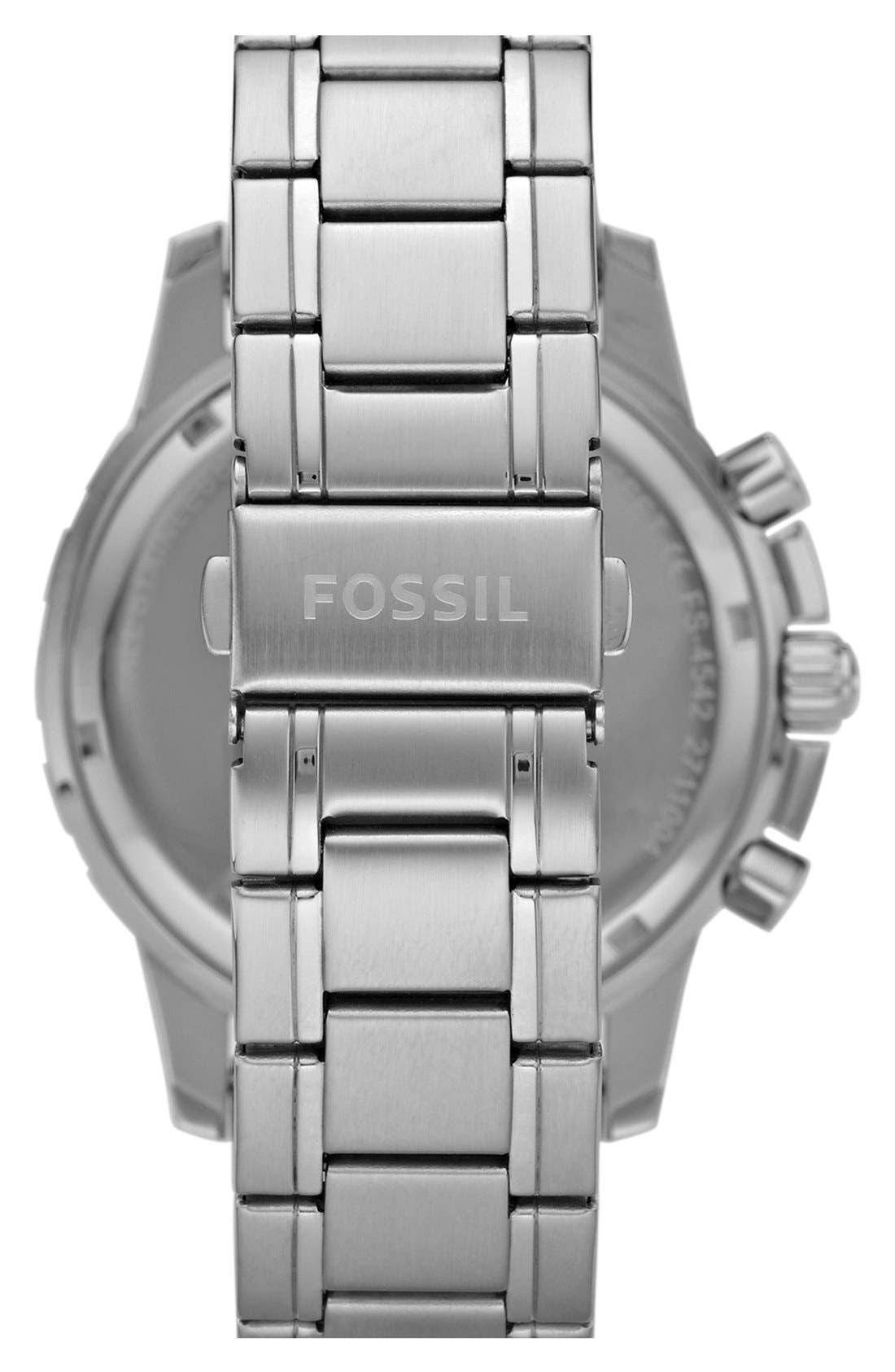 Alternate Image 2  - Fossil Notched Bezel Chronograph Bracelet Watch, 45mm