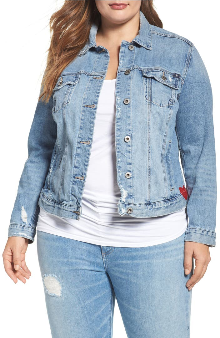 Lucky brand embroidered denim jacket plus size nordstrom