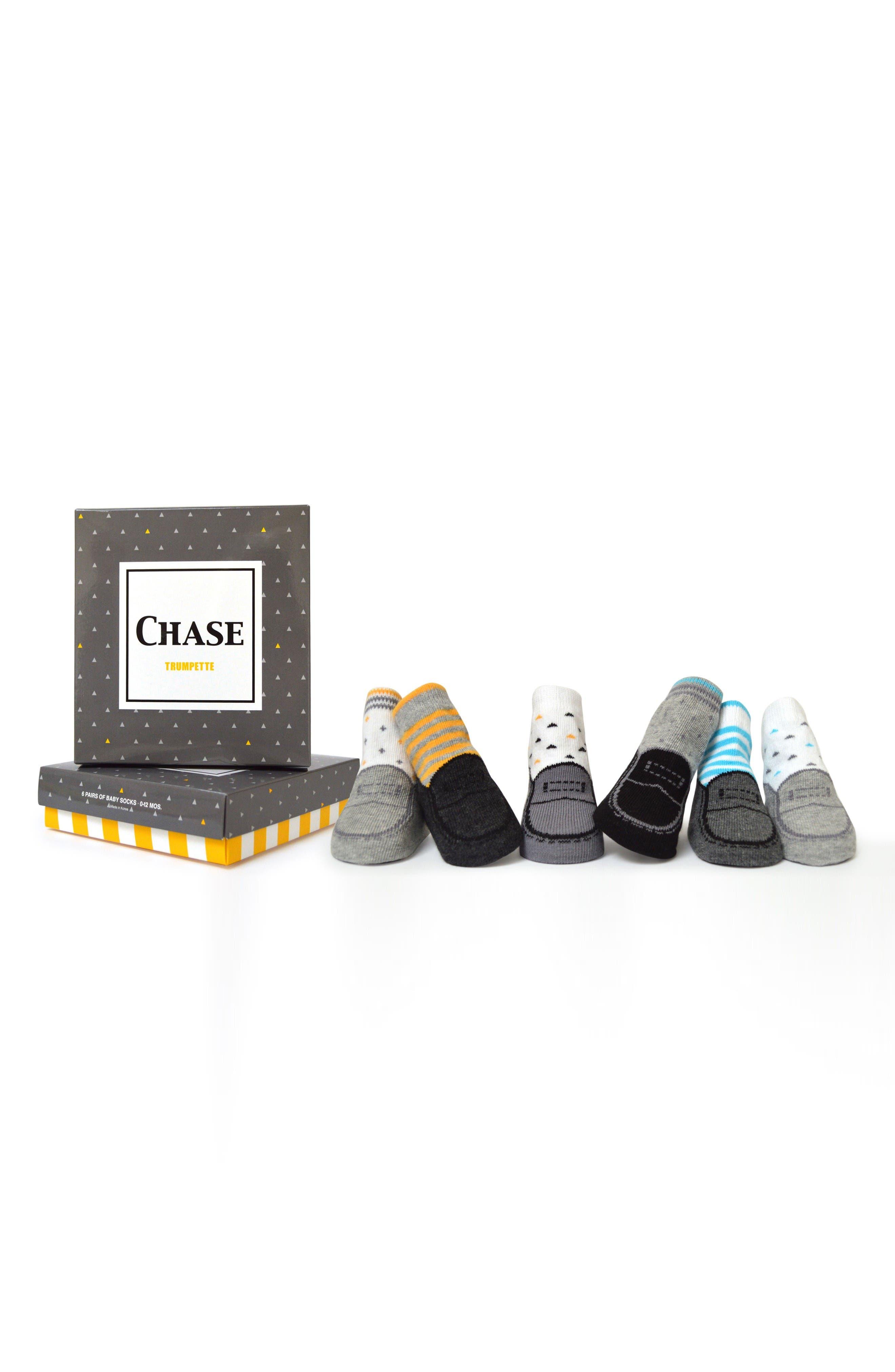 Chase 6-Pack Socks,                         Main,                         color, White