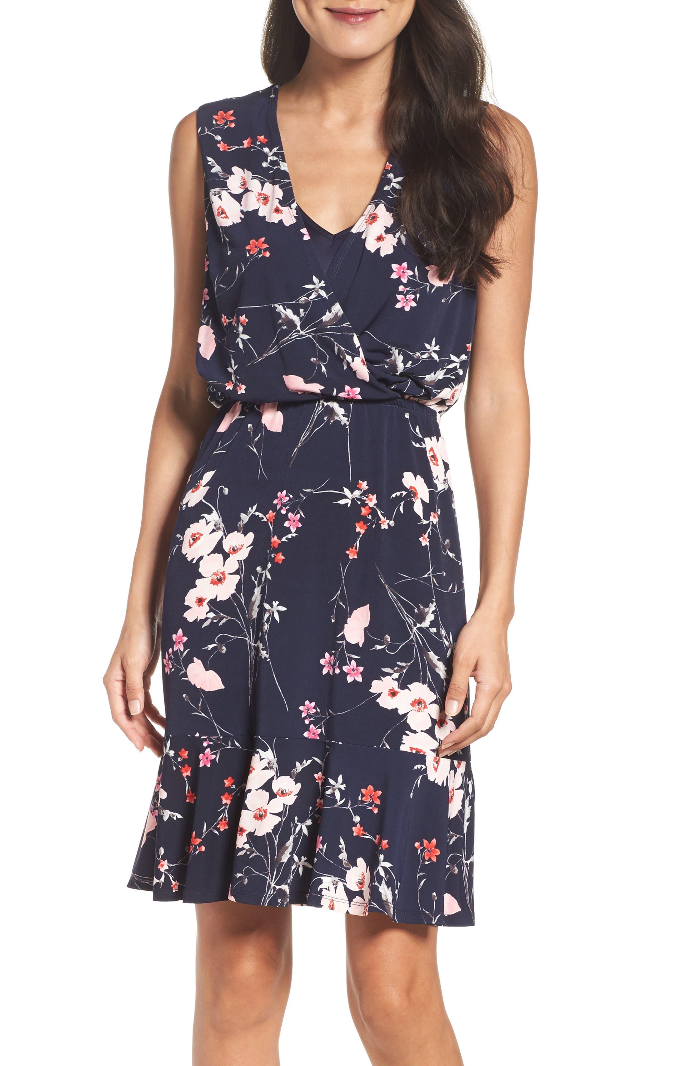 Print Surplice Dress,                             Alternate thumbnail 4, color,                             Navy/ Pink