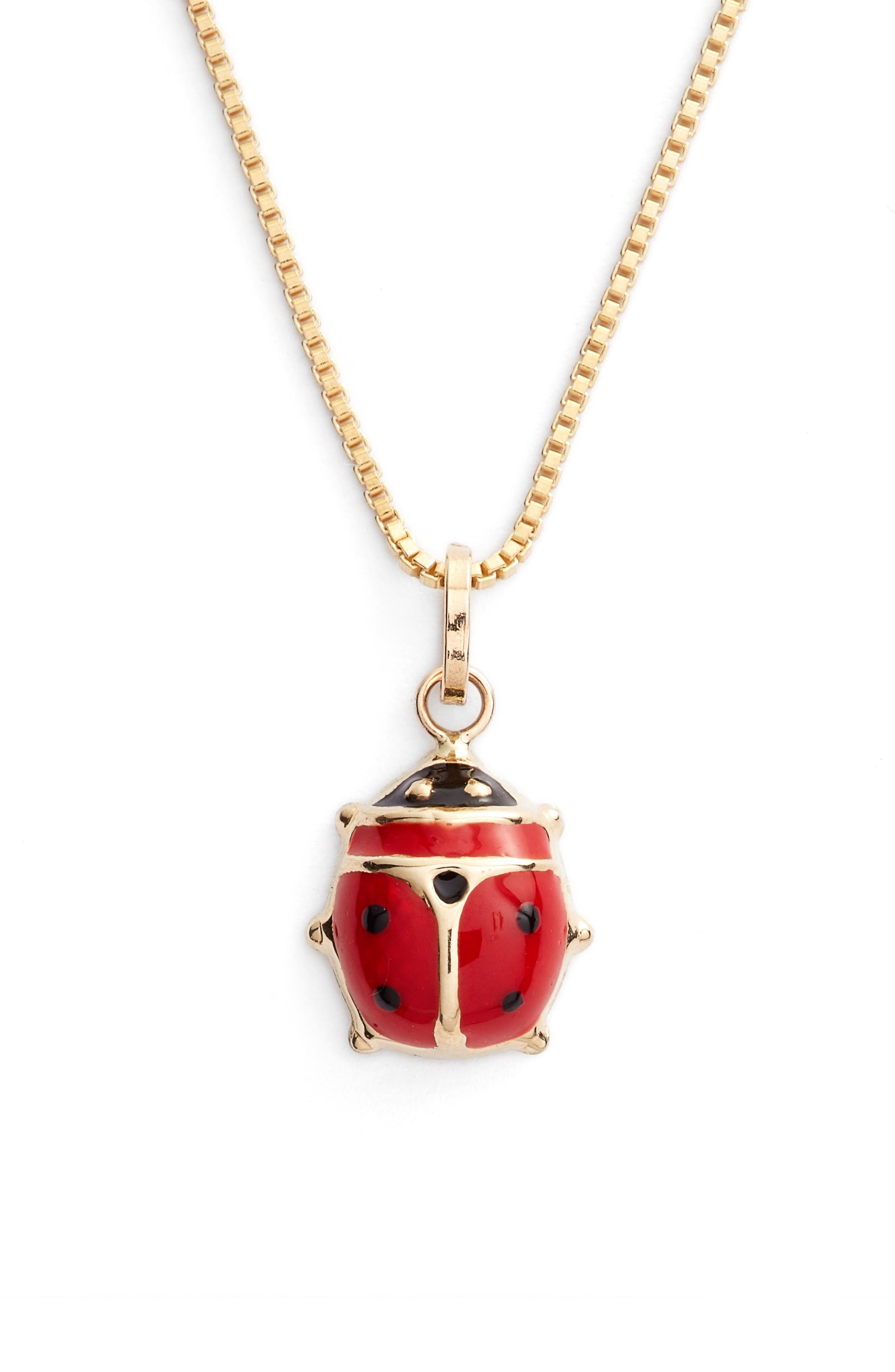 Kardee Kids Ladybug Charm 14k Gold Necklace,                             Alternate thumbnail 2, color,                             Gold