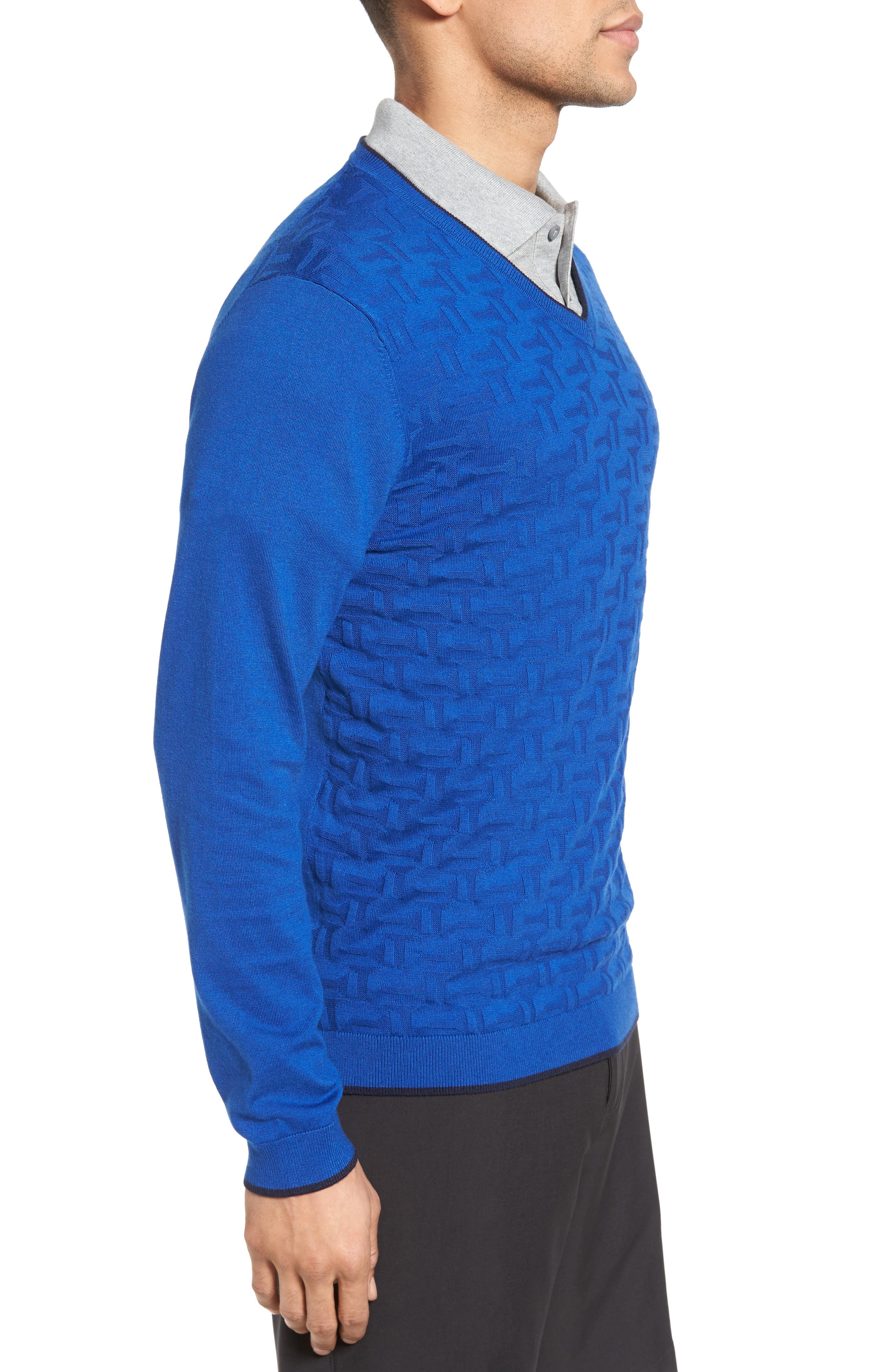 Armstro Tipped Golf Tee Sweater,                             Alternate thumbnail 3, color,                             Blue