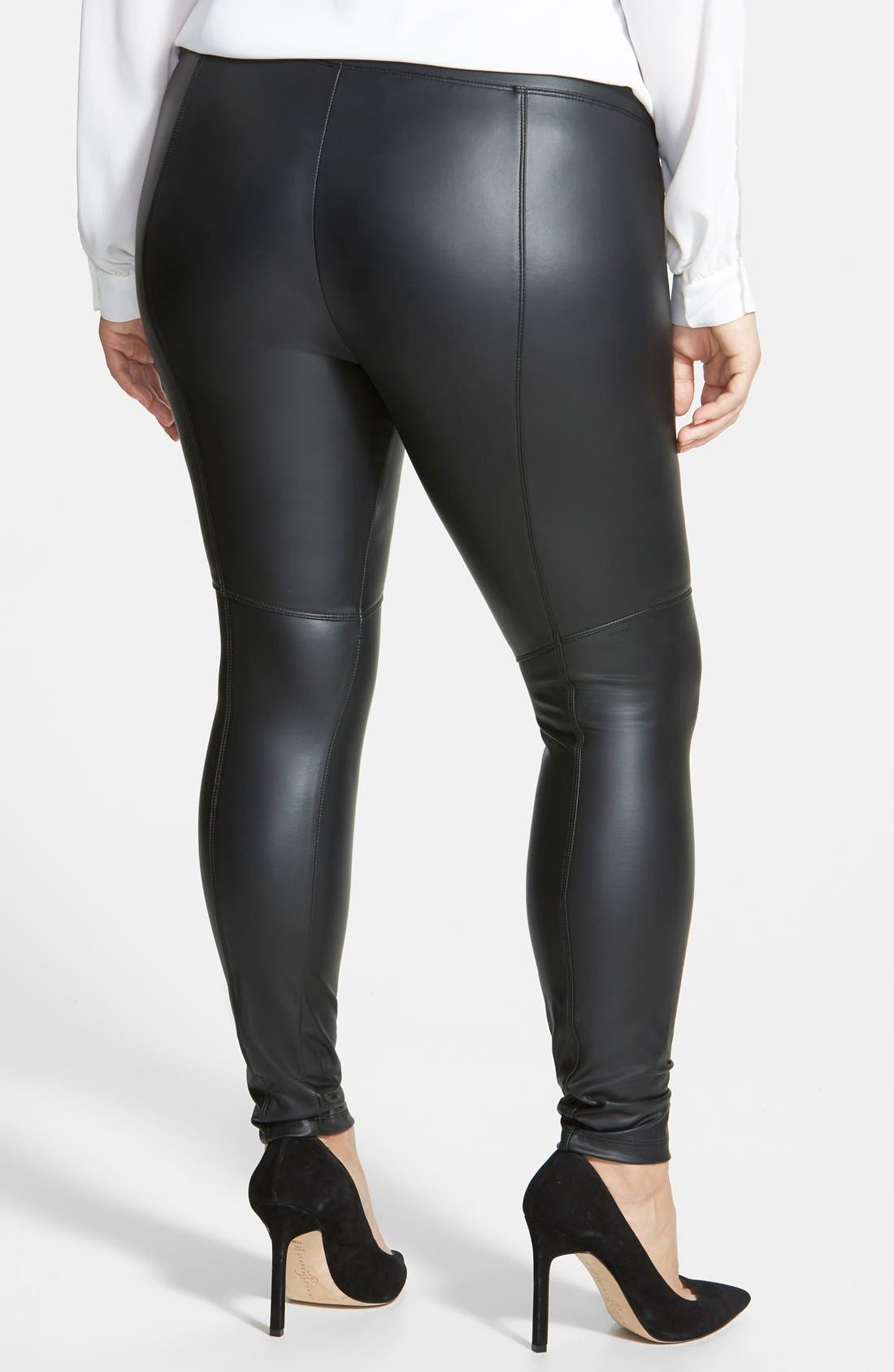 Alternate Image 2  - Lyssé® Faux Leather Leggings (Plus Size)