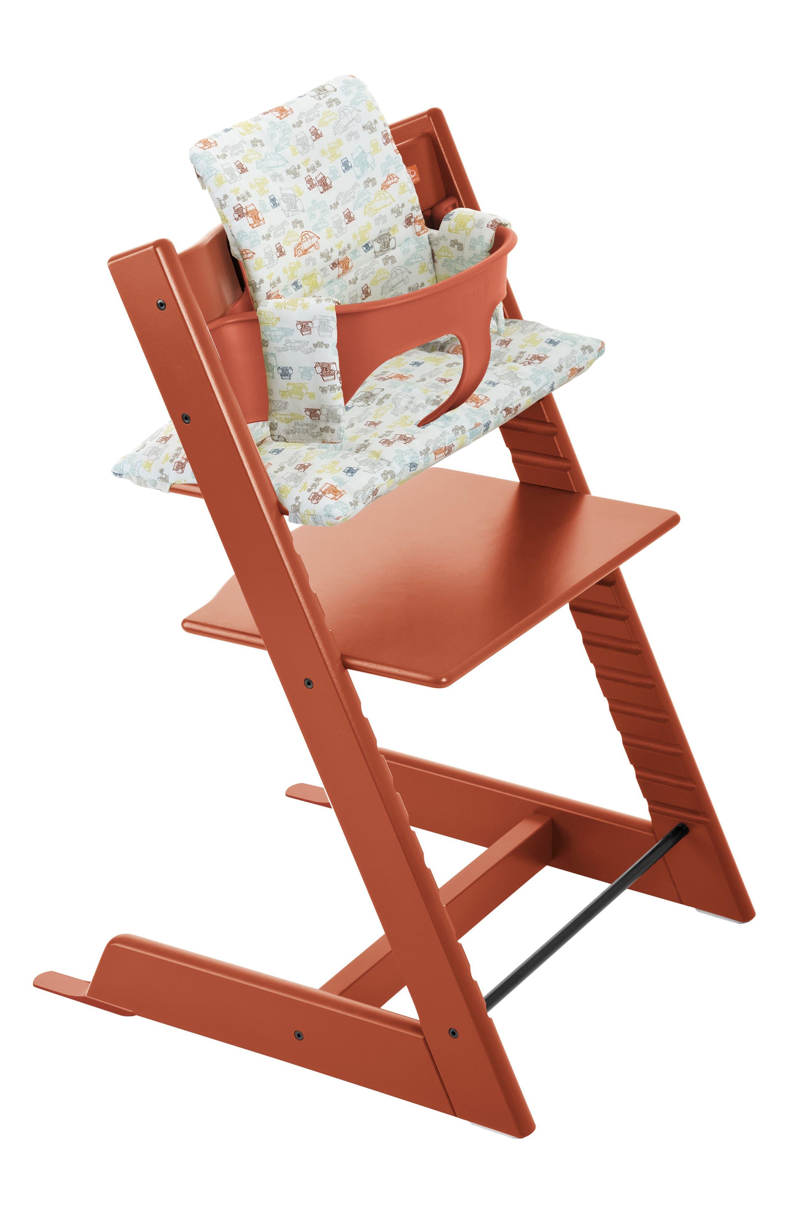 Tripp Trapp<sup>®</sup> High Chair, Baby Set, Cushion & Tray Set,                         Main,                         color, Lava Orange Retrocar