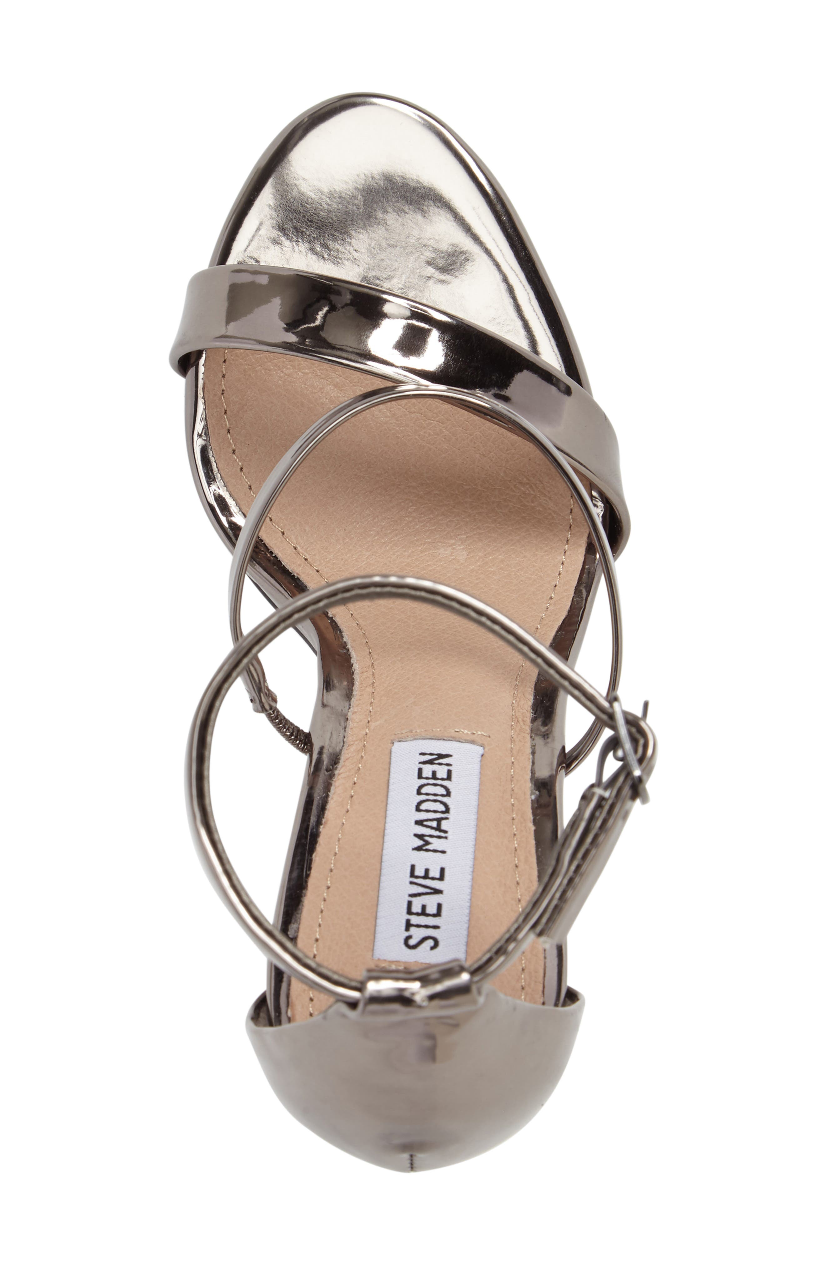 Sheena Strappy Sandal,                             Alternate thumbnail 5, color,                             Pewter Faux Leather