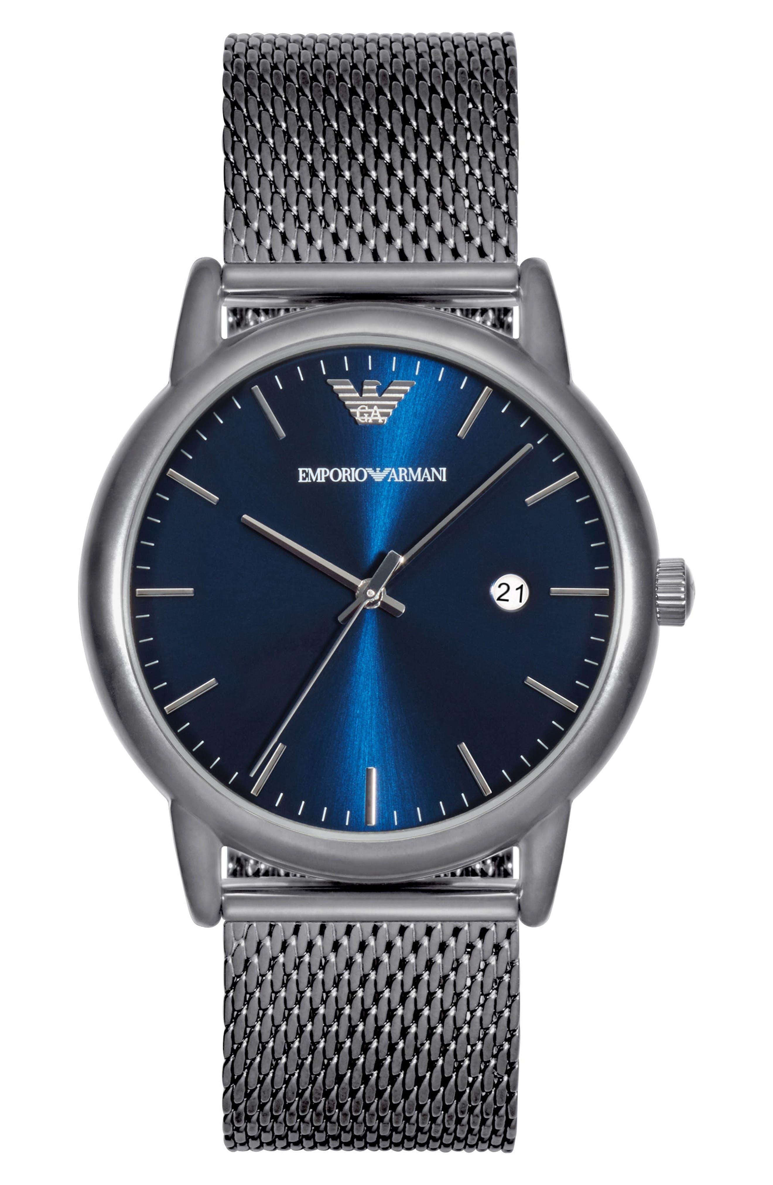Slim Mesh Strap Watch, 43mm,                         Main,                         color, Navy/ Black