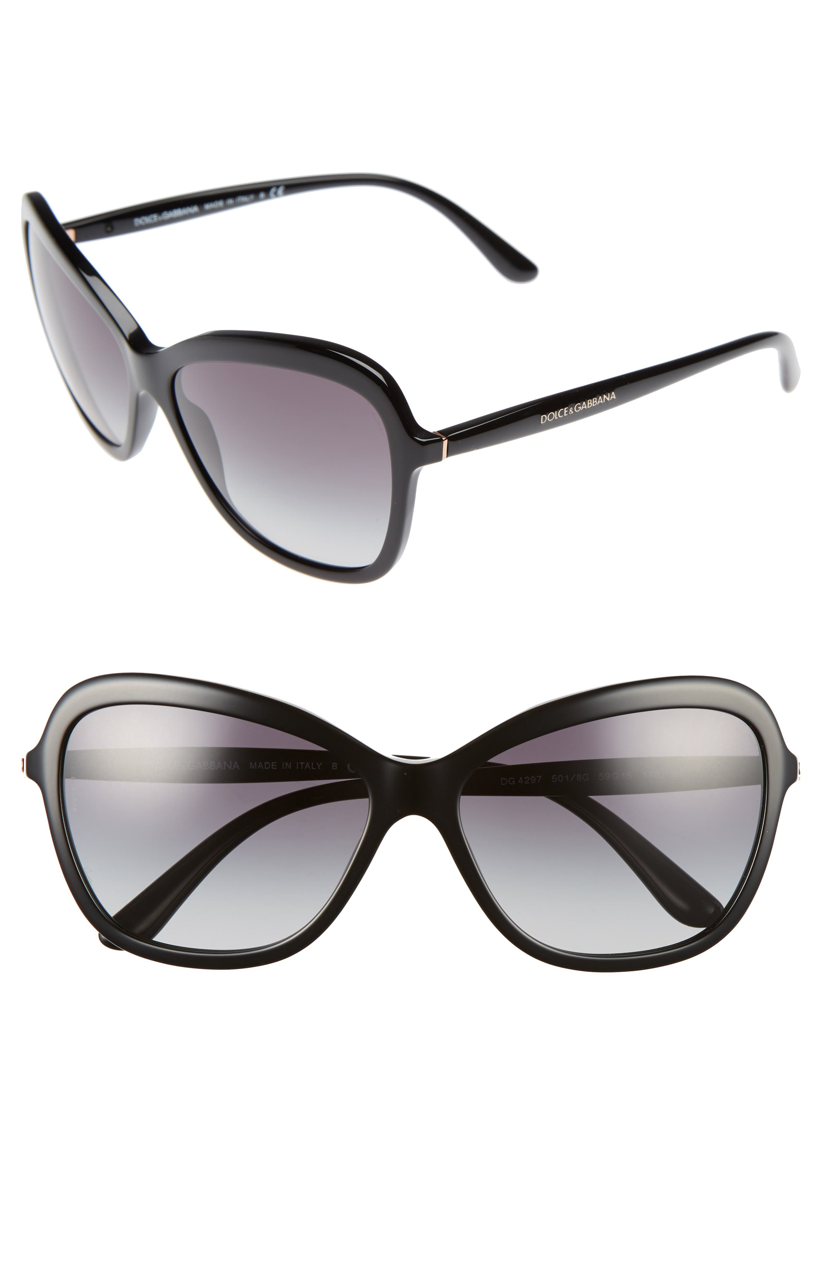59mm Gradient Butterfly Sunglasses,                         Main,                         color, Black