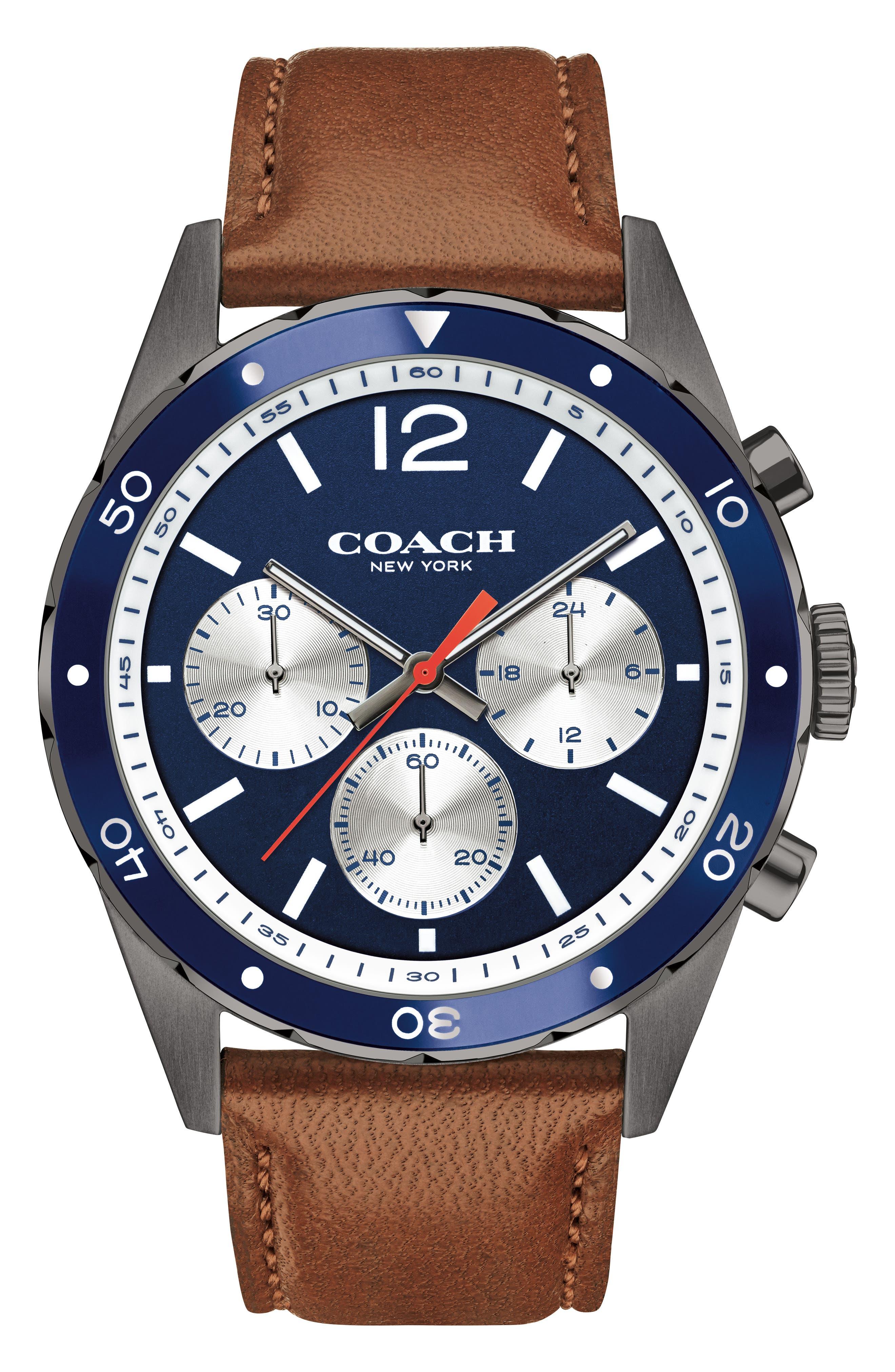 COACH Sullivan Sport Chronograph Leather Strap Watch, 44mm