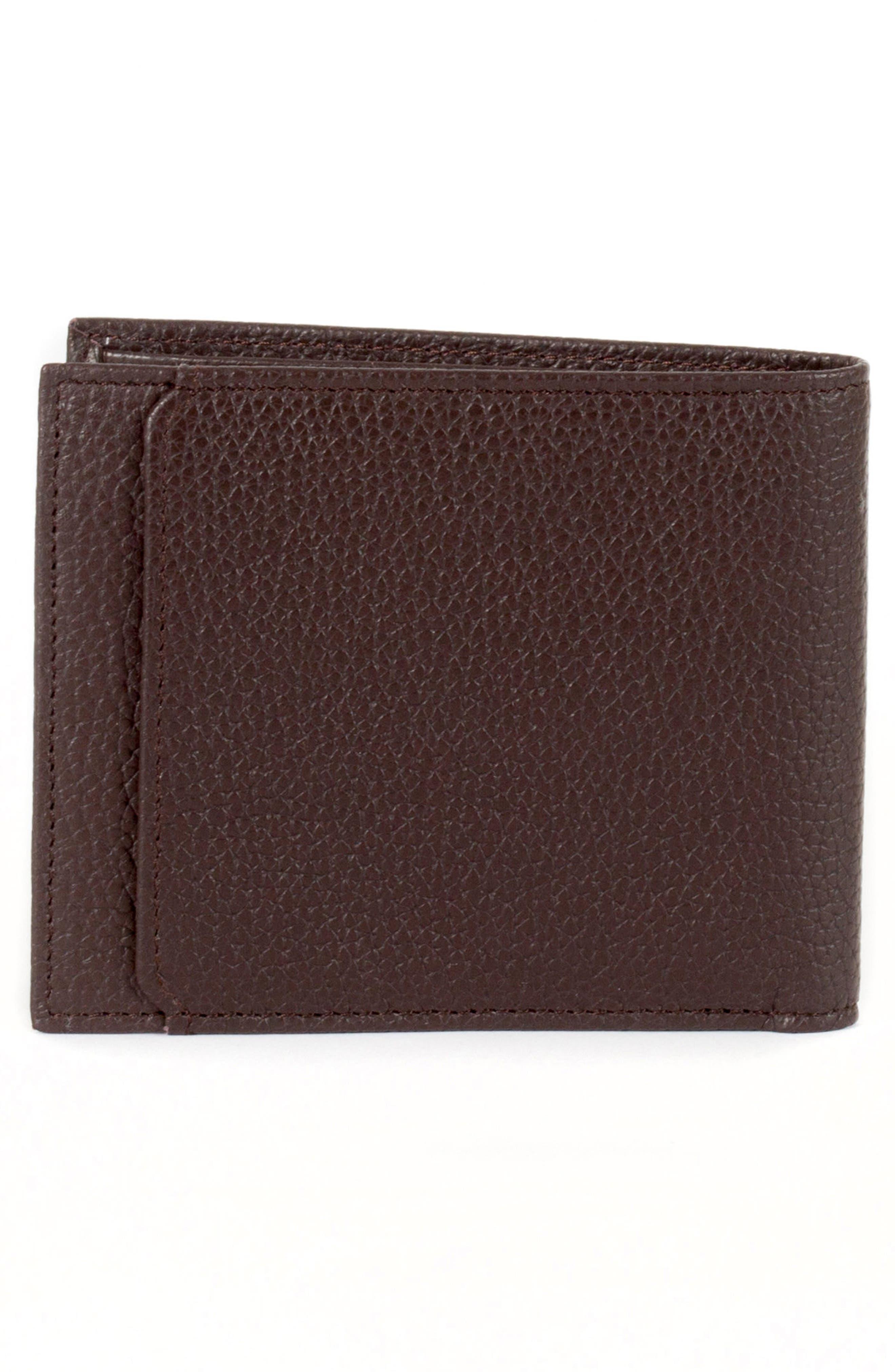 Garth Leather Bifold Wallet,                             Alternate thumbnail 3, color,                             Brown/ Tan/ Purple