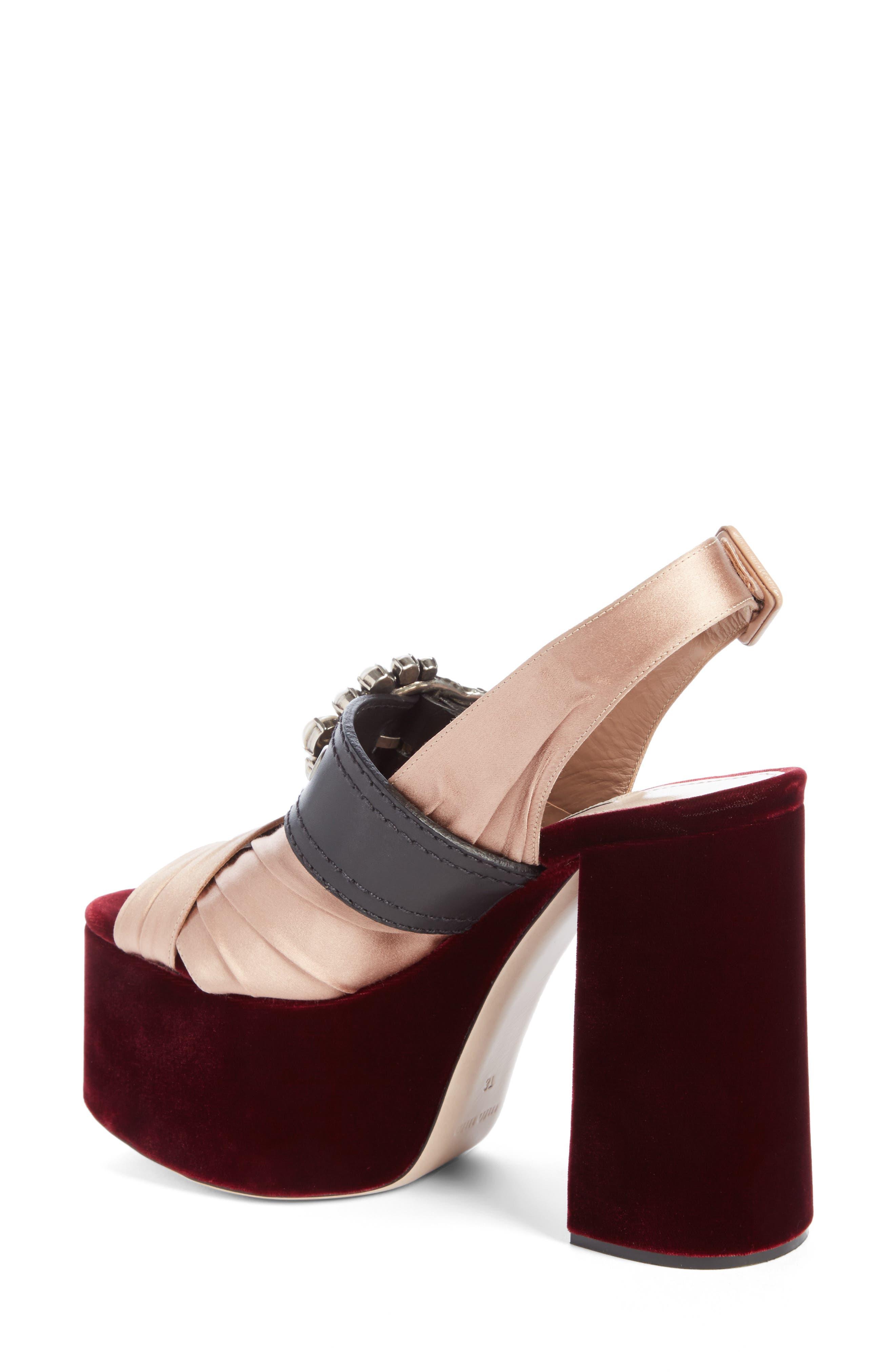 Alternate Image 2  - Miu Miu Imitation Pearl Slingback Platform Sandal (Women)