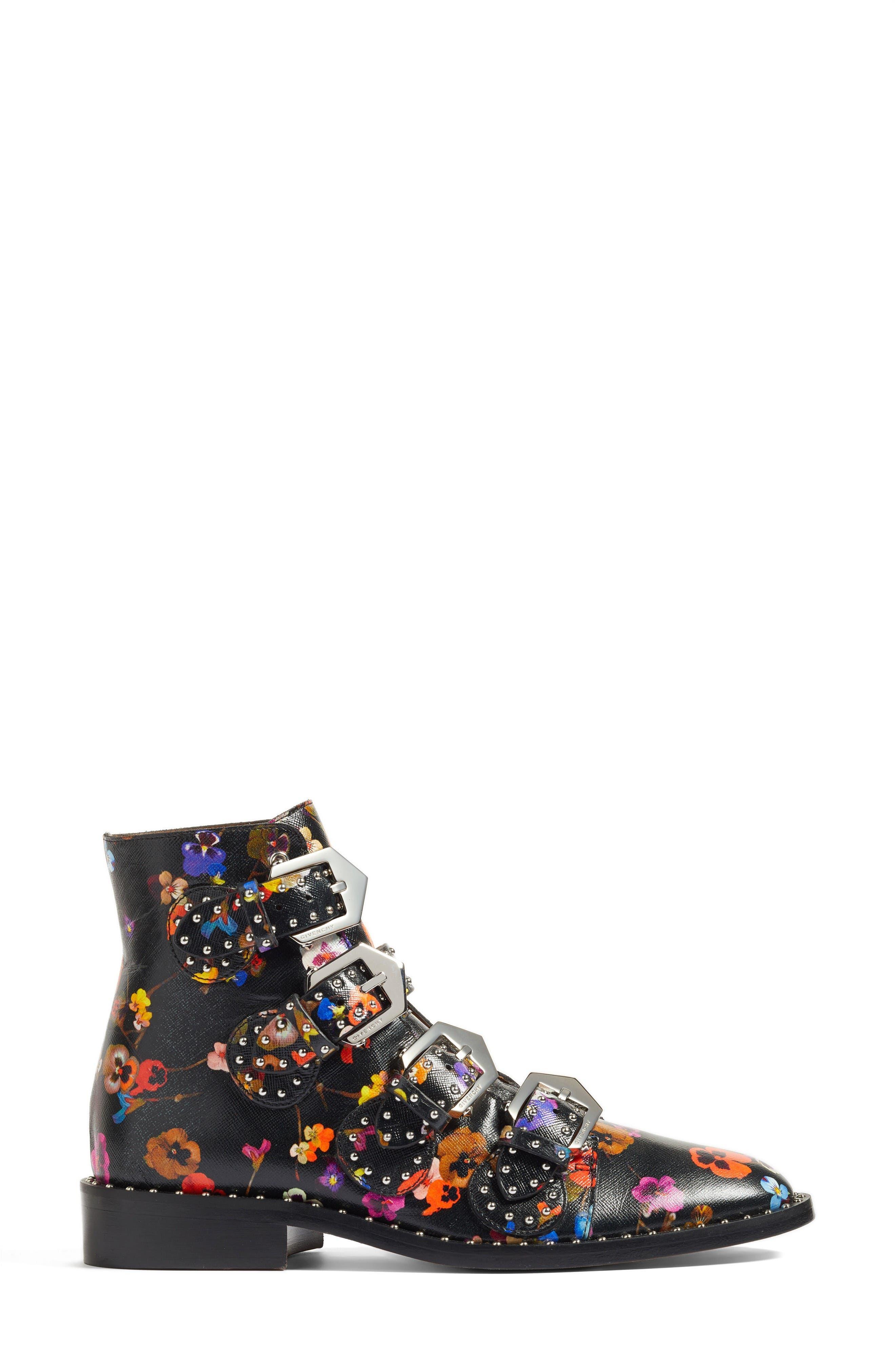 Prue Ankle Boot,                             Alternate thumbnail 5, color,                             Black Floral