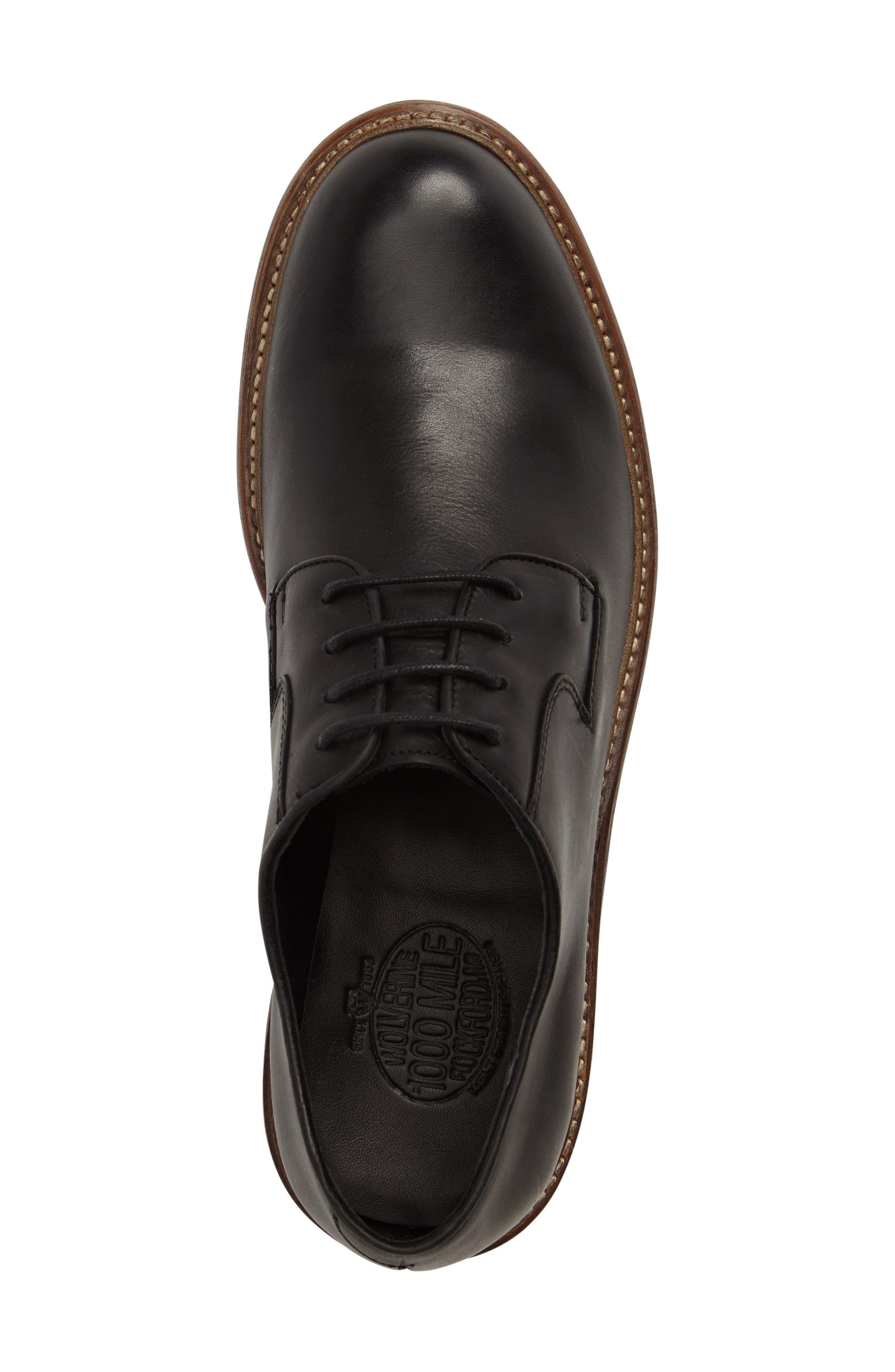 1000 Mile Luke Plain Toe Derby,                             Alternate thumbnail 5, color,                             Black Leather