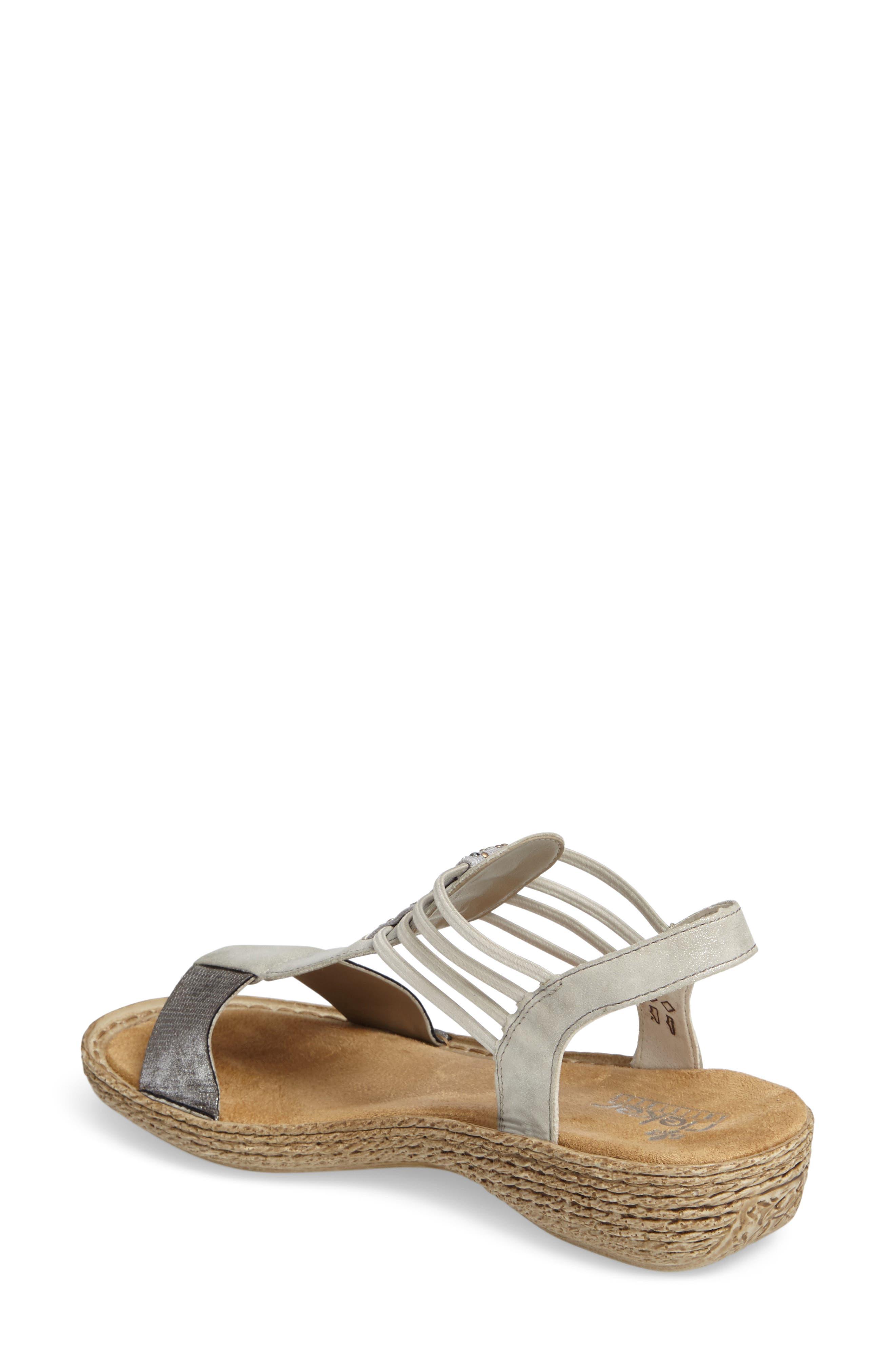 Regina T-Strap Sandal,                             Alternate thumbnail 2, color,                             Grey Fabric
