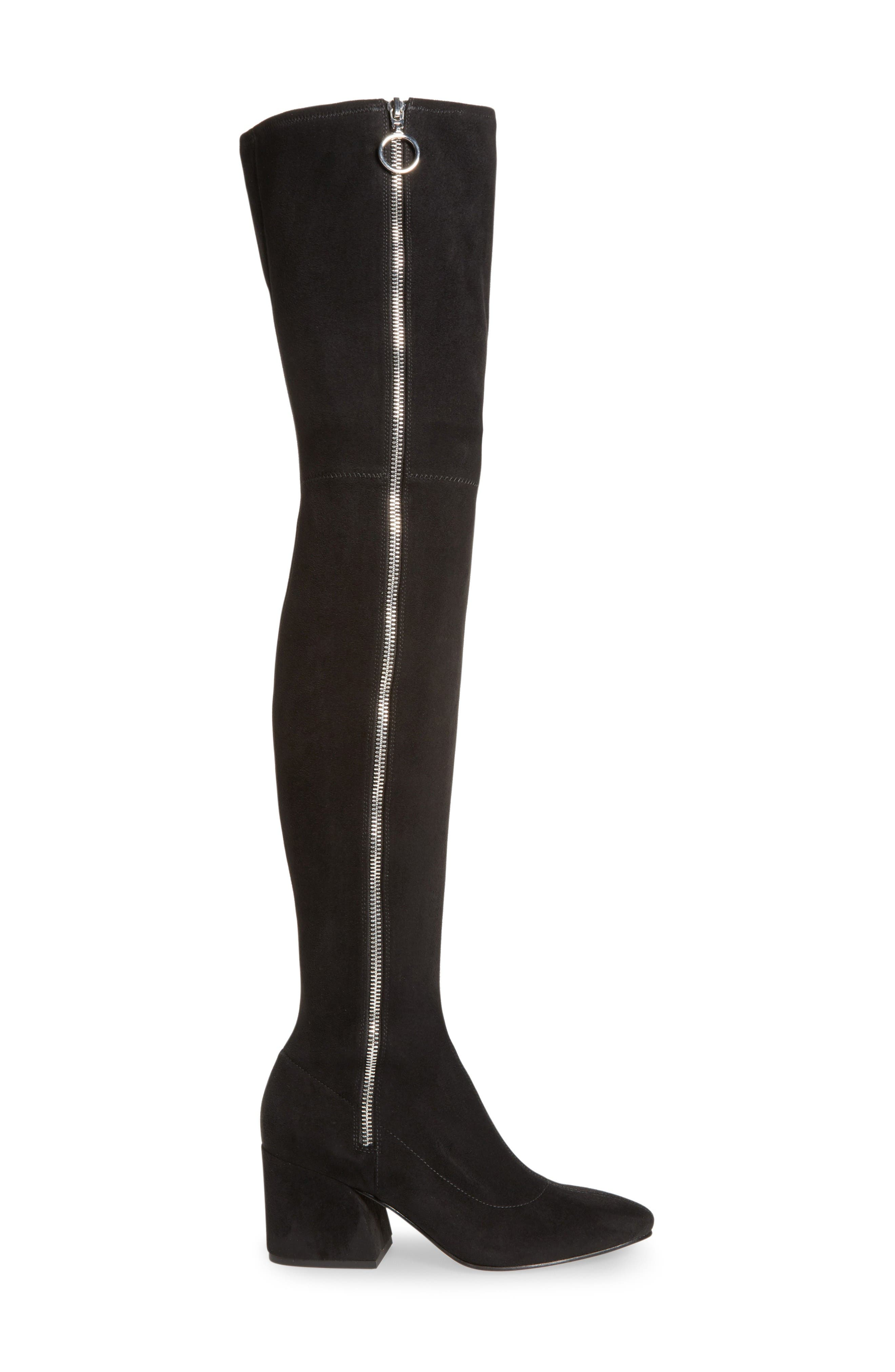 Vix Thigh High Boot,                             Alternate thumbnail 3, color,                             Black Suede