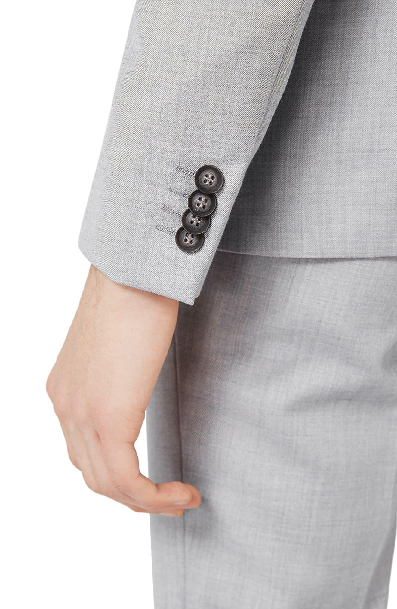 Skinny Fit Crosshatch Suit Jacket,                             Alternate thumbnail 4, color,                             Grey