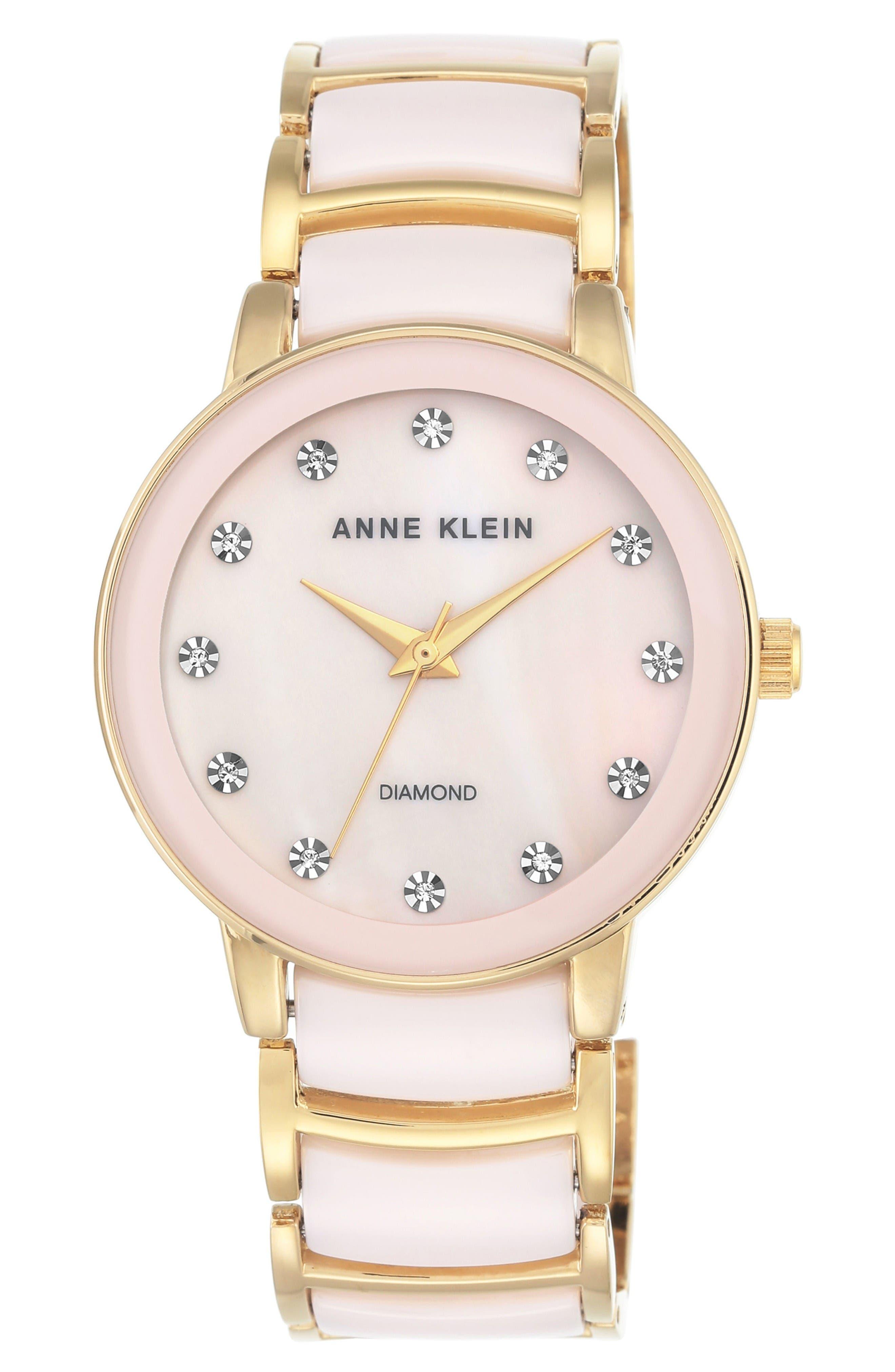 Diamond Dial Ceramic Bracelet Watch, 36mm,                         Main,                         color, Gold/ Blush Pink