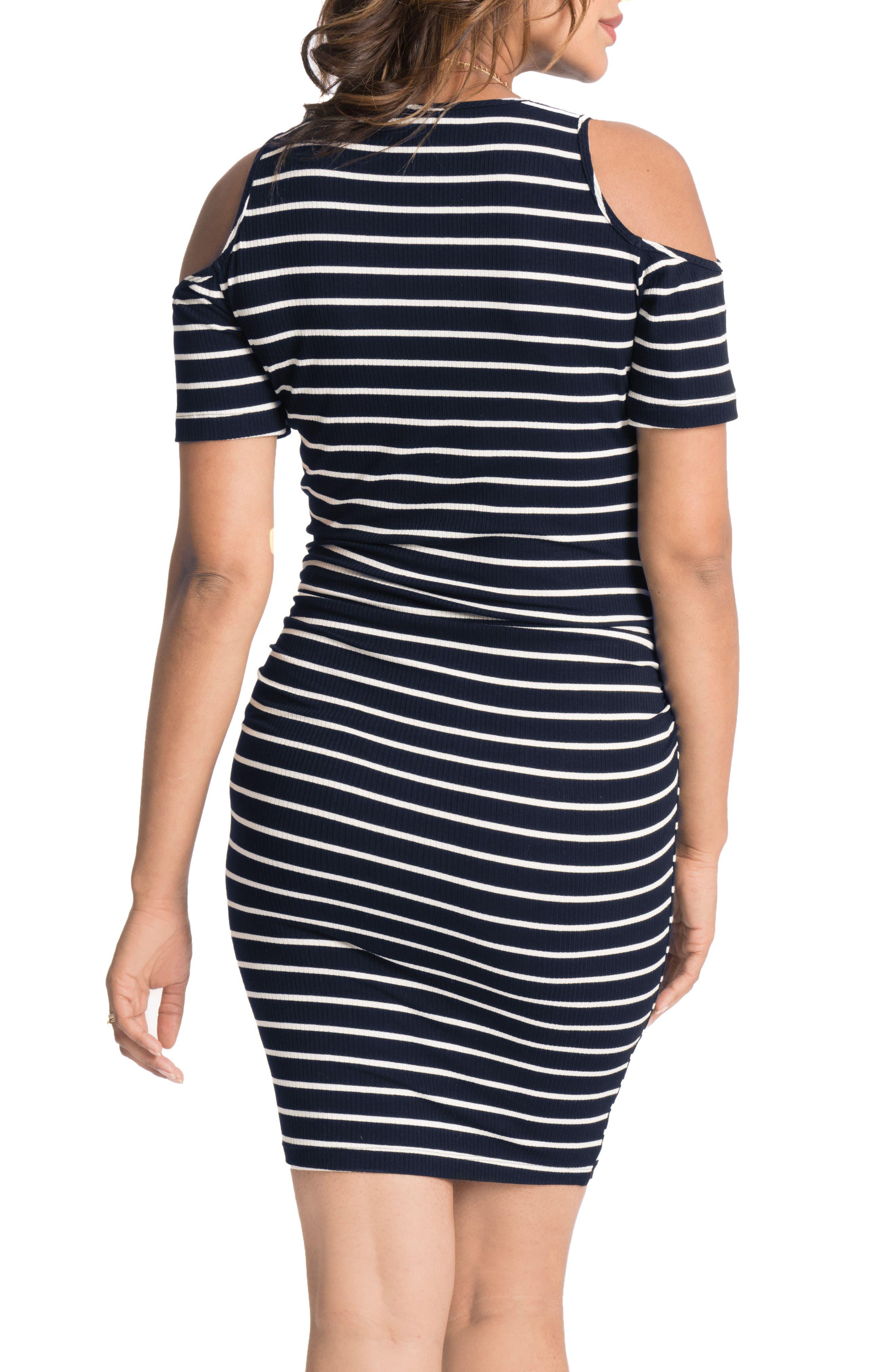 Alternate Image 2  - Bun Maternity Cold-Shoulder Maternity Dress