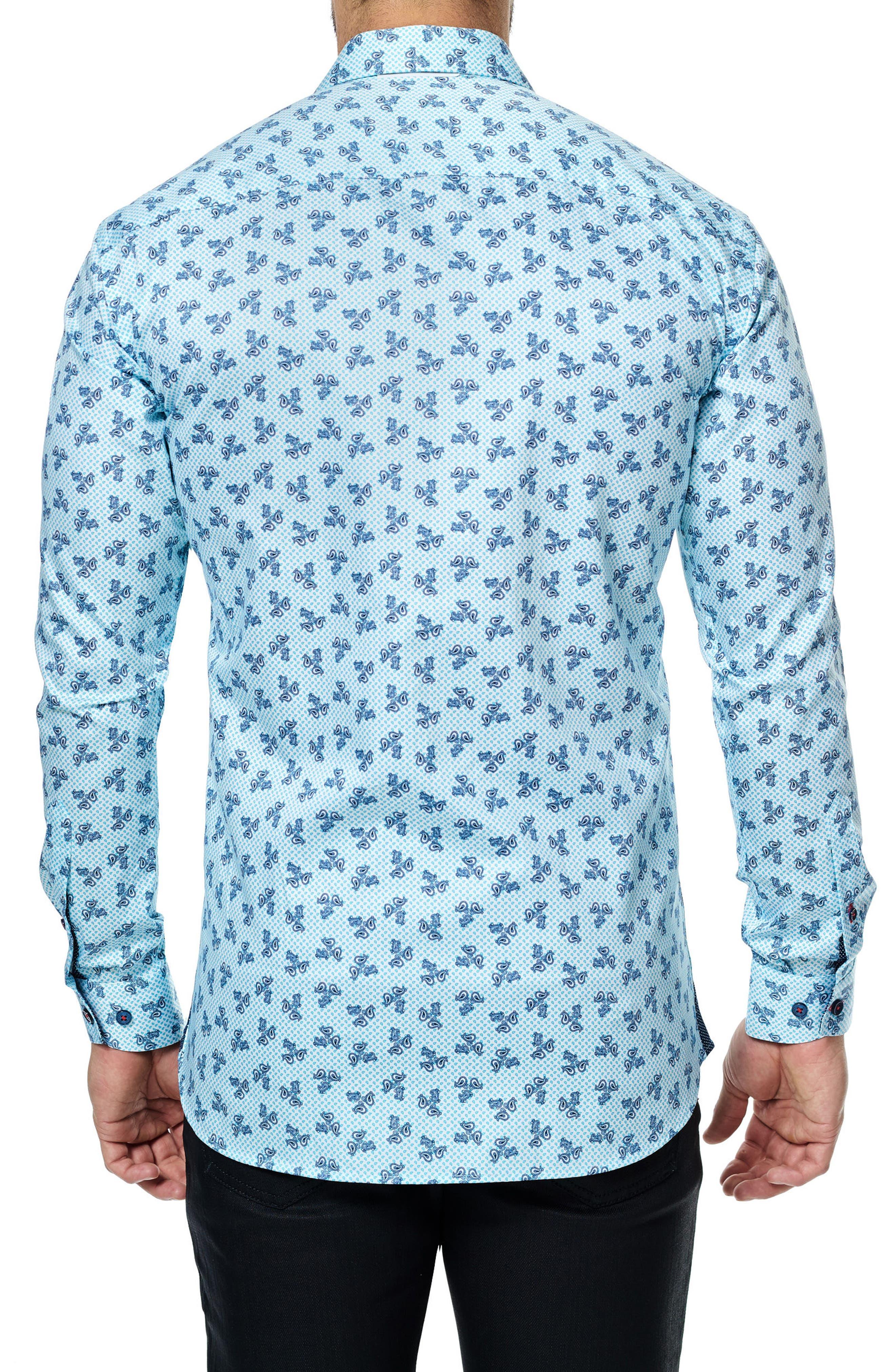 Class Paisley Trim Fit Sport Shirt,                             Alternate thumbnail 2, color,                             Turquoise