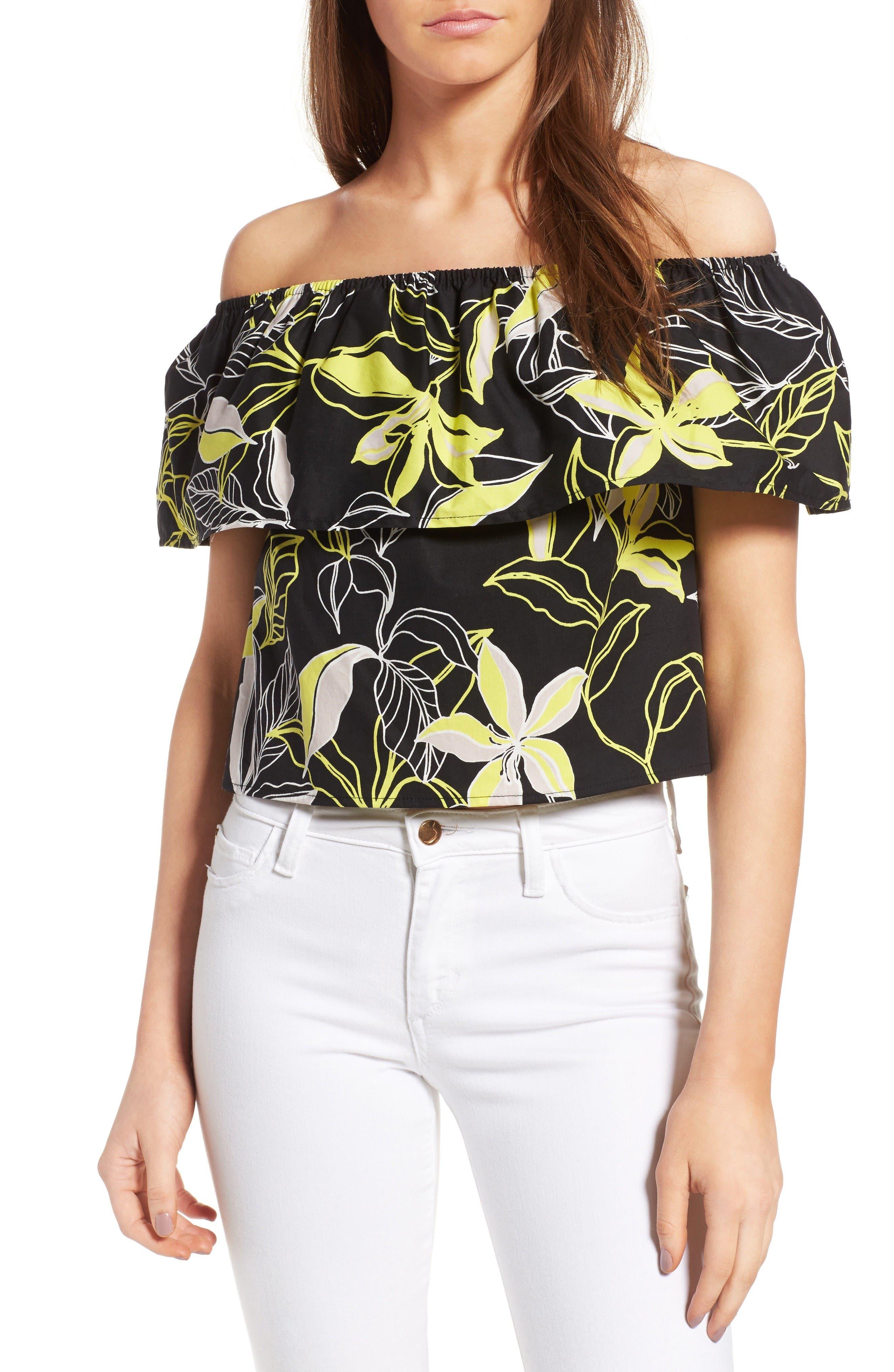 Splendid Tropic Floral Print Off the Shoulder Top